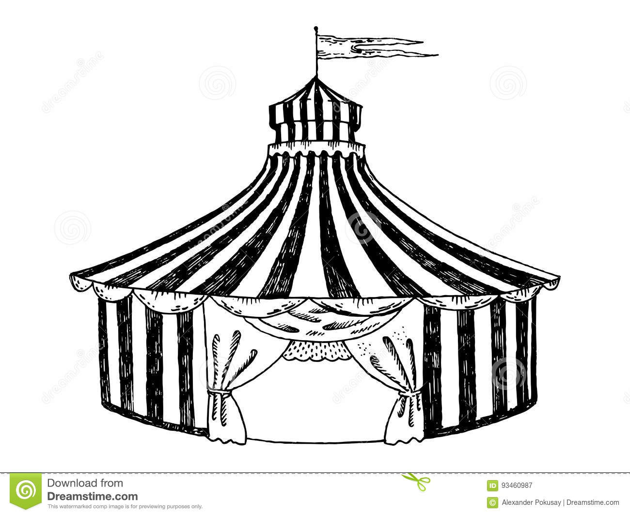 Circus Tent Engraving Style Vector Illustration Stock Vector