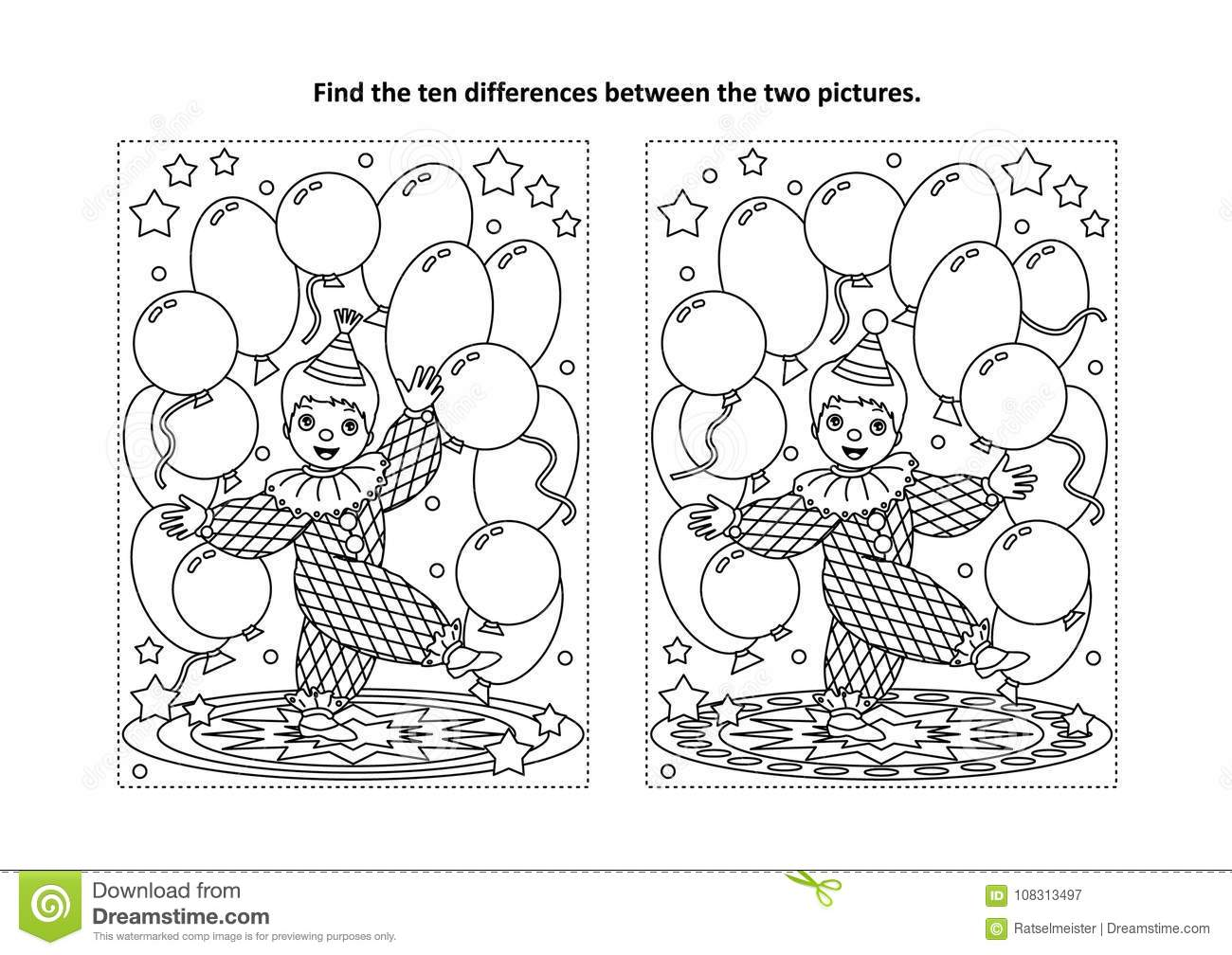 Find The Differences Visual Puzzle And Coloring Page With Little ...