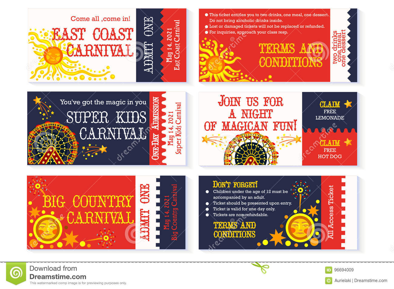 Circus Ticket Carnival Birthday Invitation