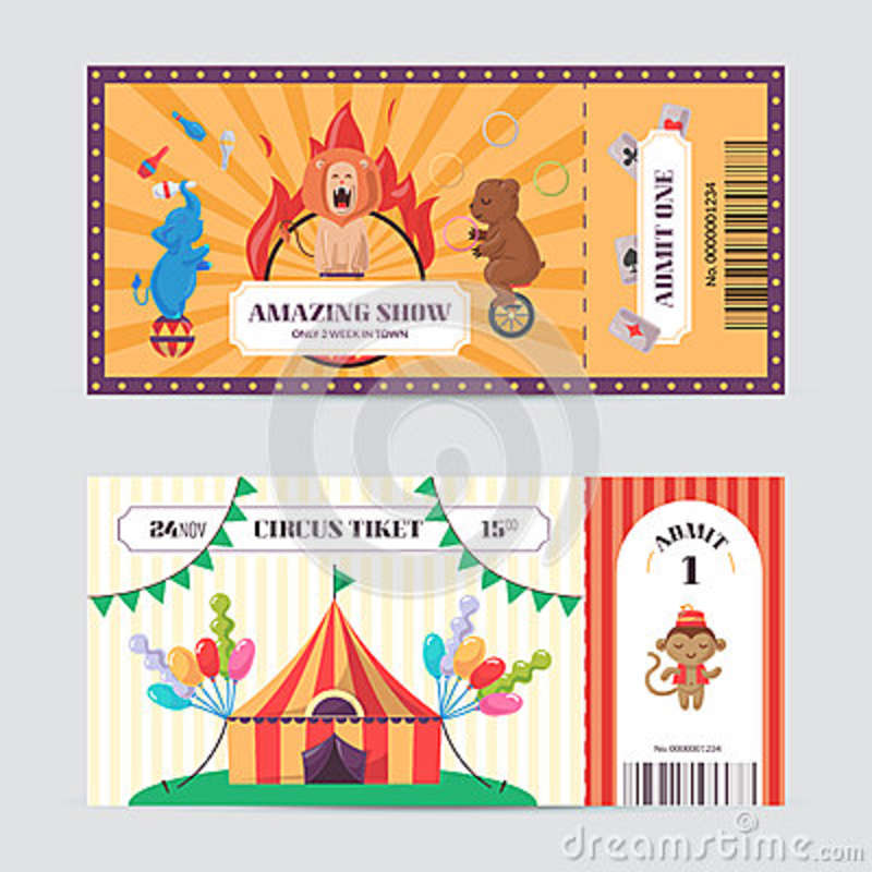 Circus Ticket Design Template Stock Vector Illustration Of Card