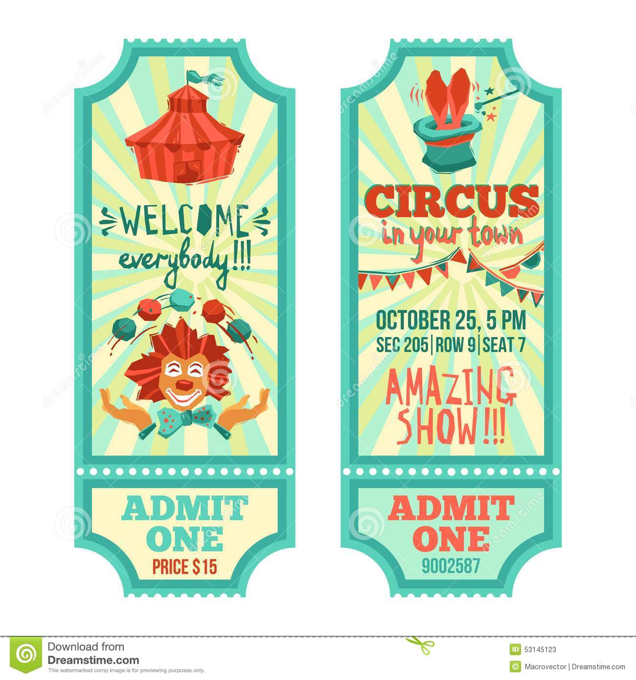 ... paper tickets set with clown and tent isolated vector illustration