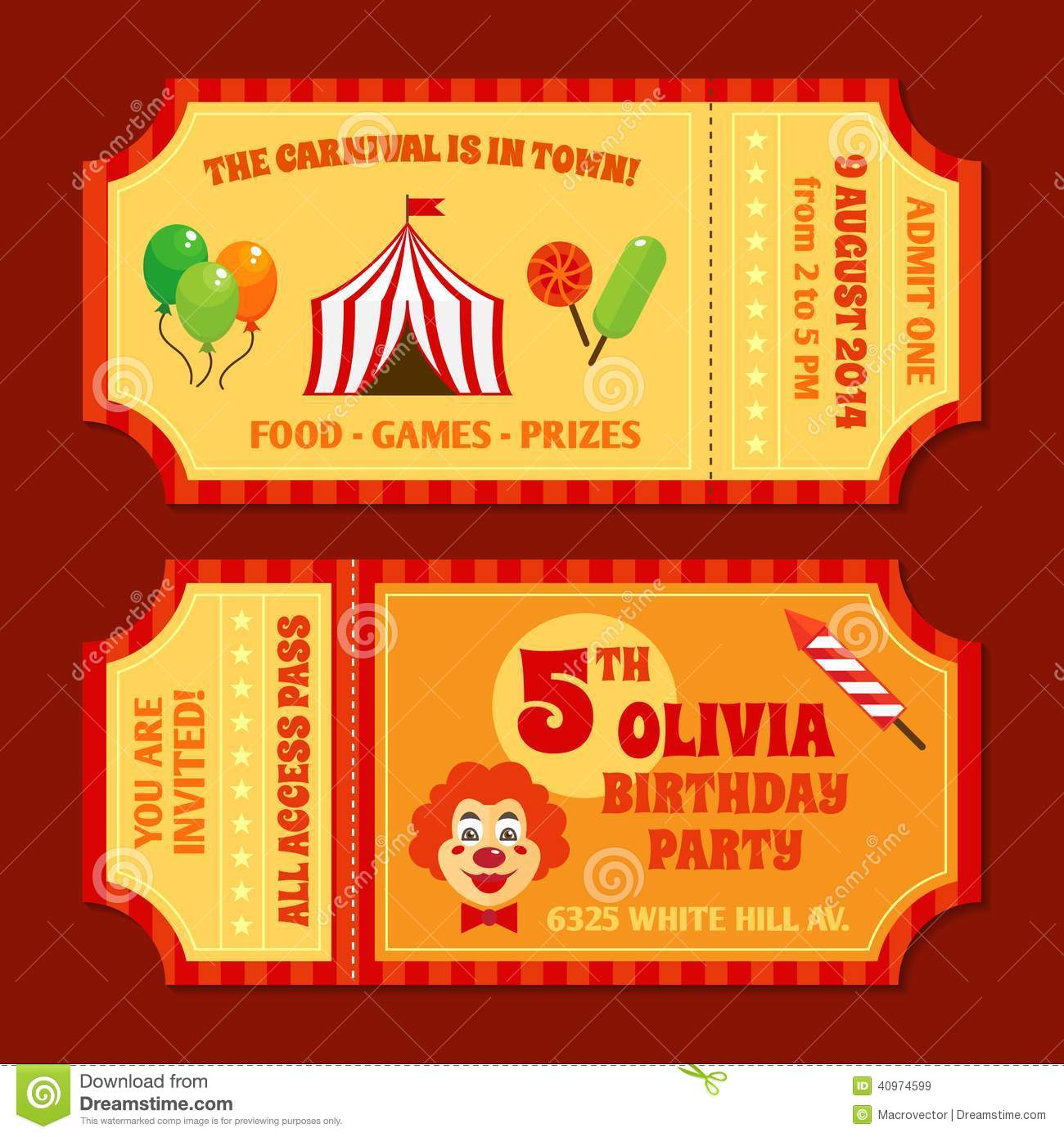 circus tickets template stock vector  illustration of