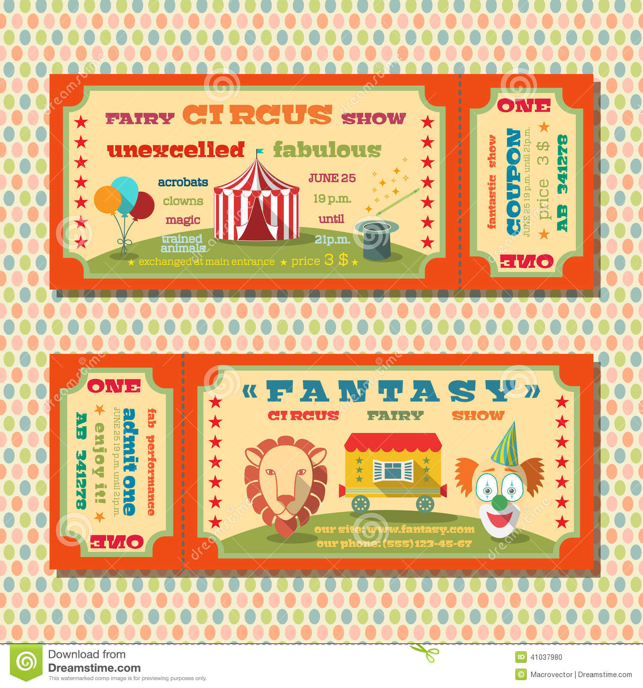 Circus tickets template stock vector illustration of event 41037980 maxwellsz