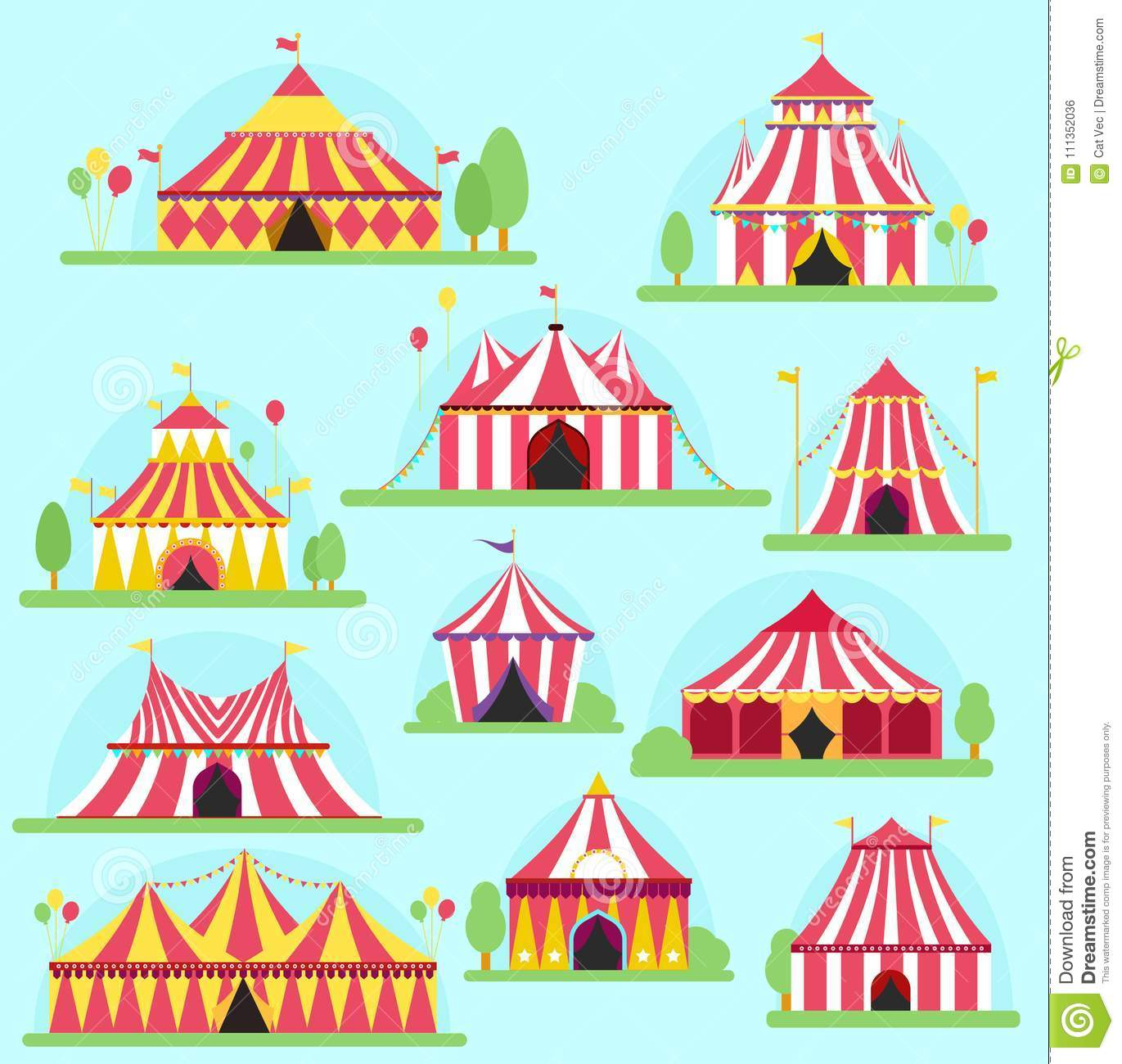 Circus vector tent facade marquee marquee stripes flags carnival entertainment balloons lelements flat illustration