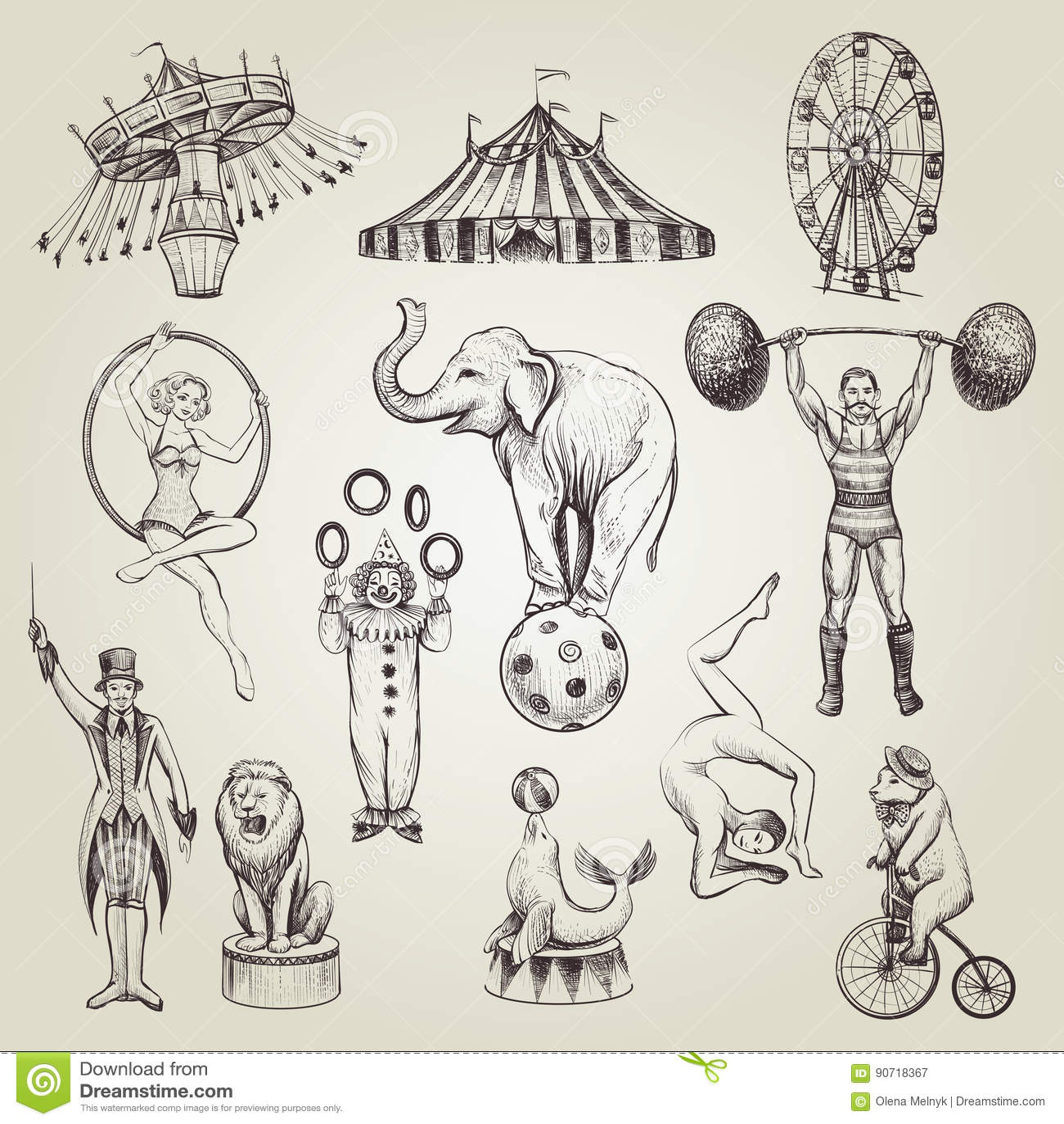 Circus Vintage Hand Drawn Vector Illustrations Set. Stock ...