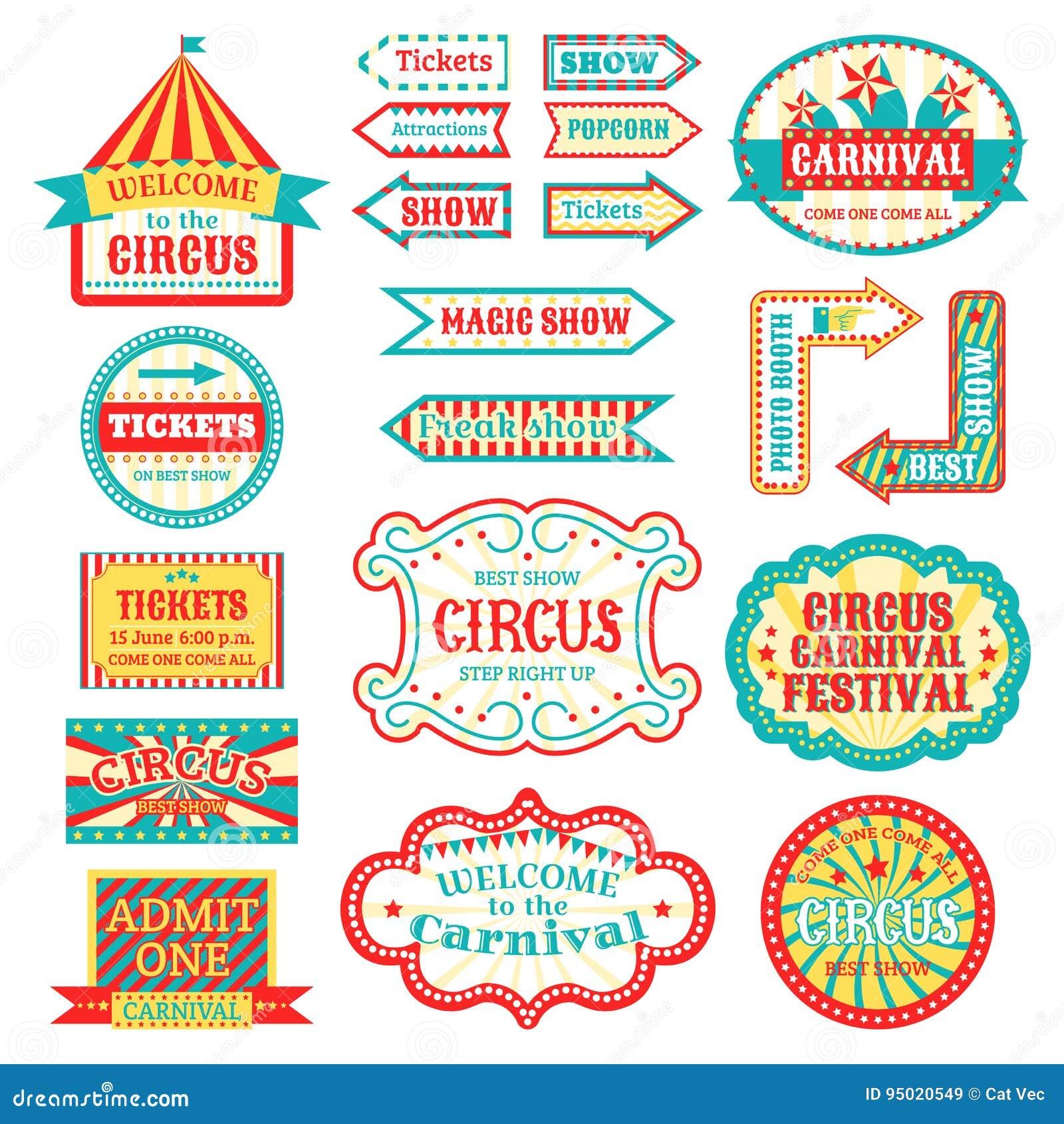 circus vintage signboard labels banner vector illustration
