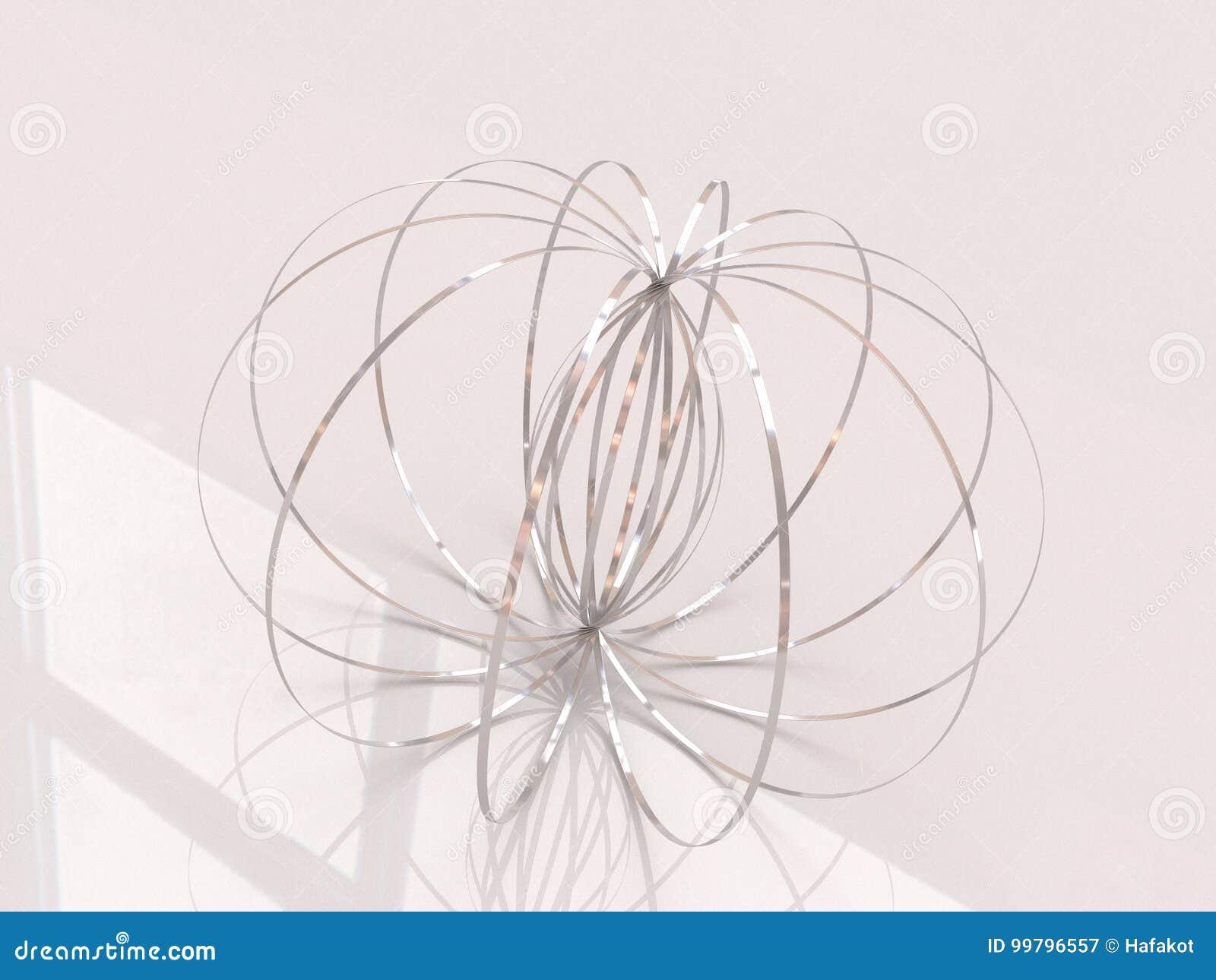 Cirkel för flödesRing Kinetic Spring Toy 3D skulptur