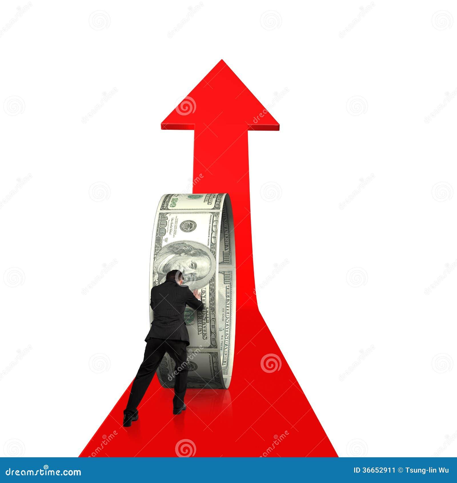 Cirkel för pengar för affärsman för bakre sikt driftig på att växa den röda pilen