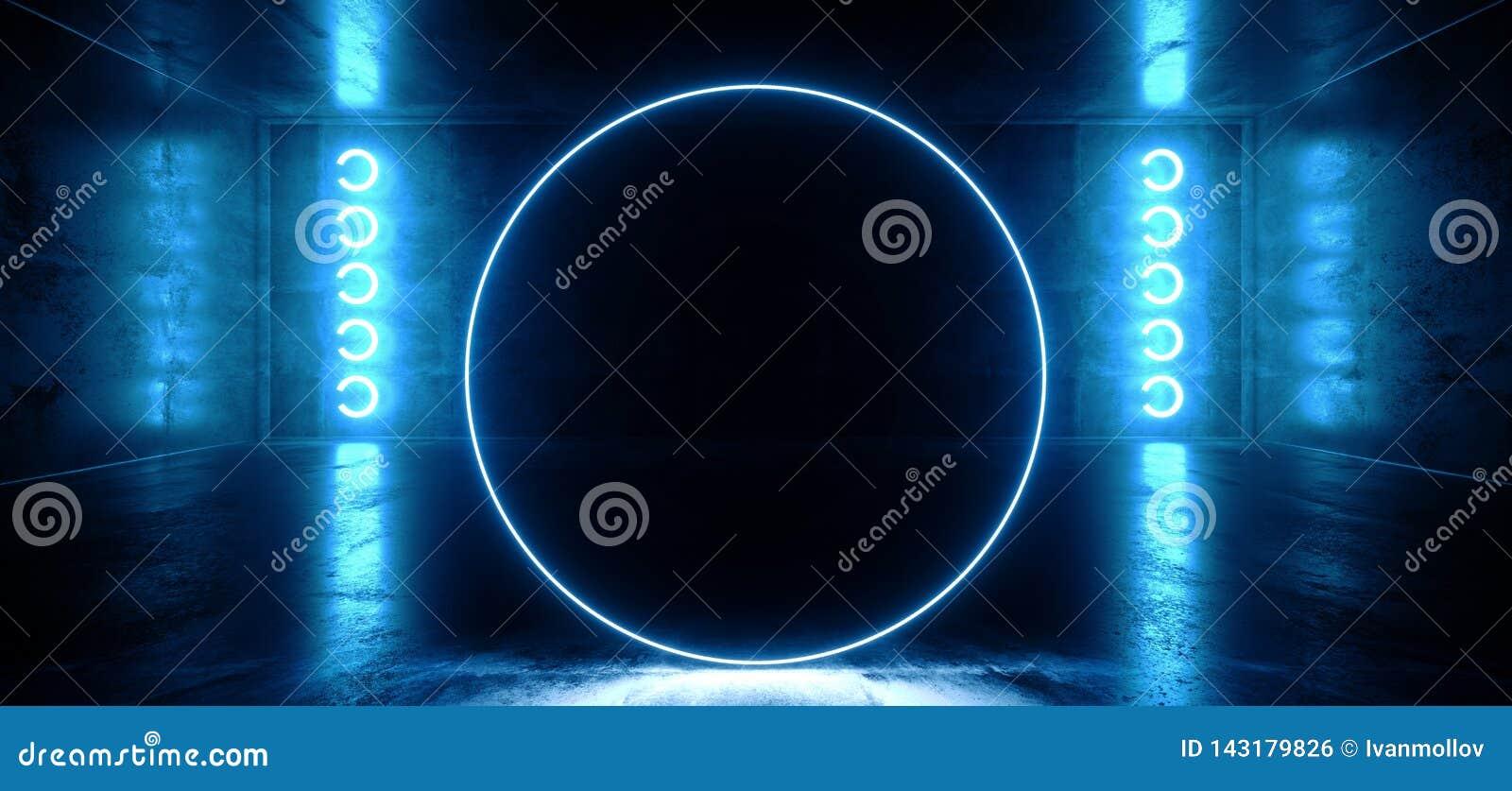 Cirkel Gestalte gegeven Neon het Gloeien Blauw Trillend Virtueel FI van de Bezinnings Concreet Hall Room Stage Lights Sci van Wer