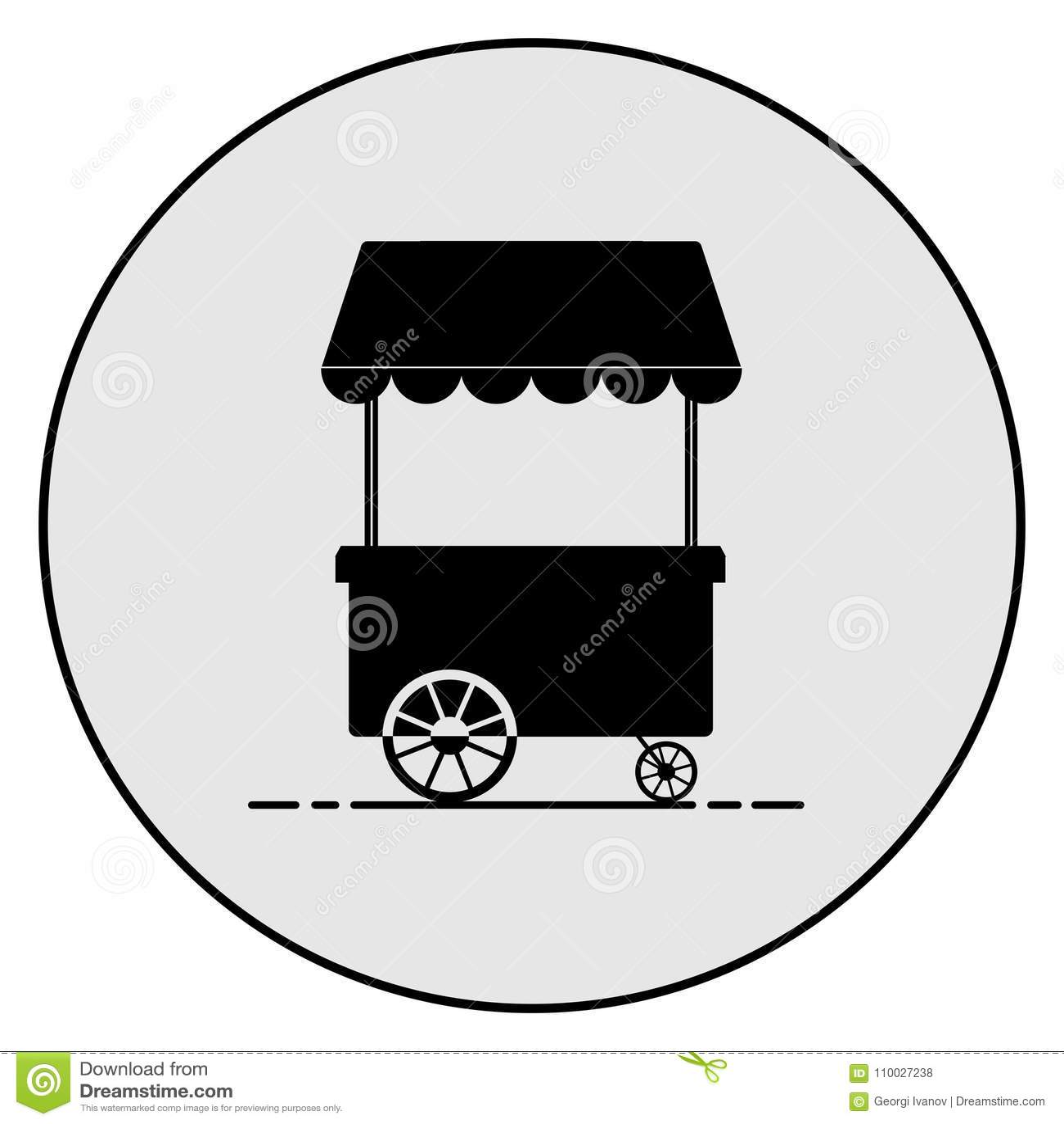 Cirkel, grijs en zwart het silhouetpictogram van de voedselkar