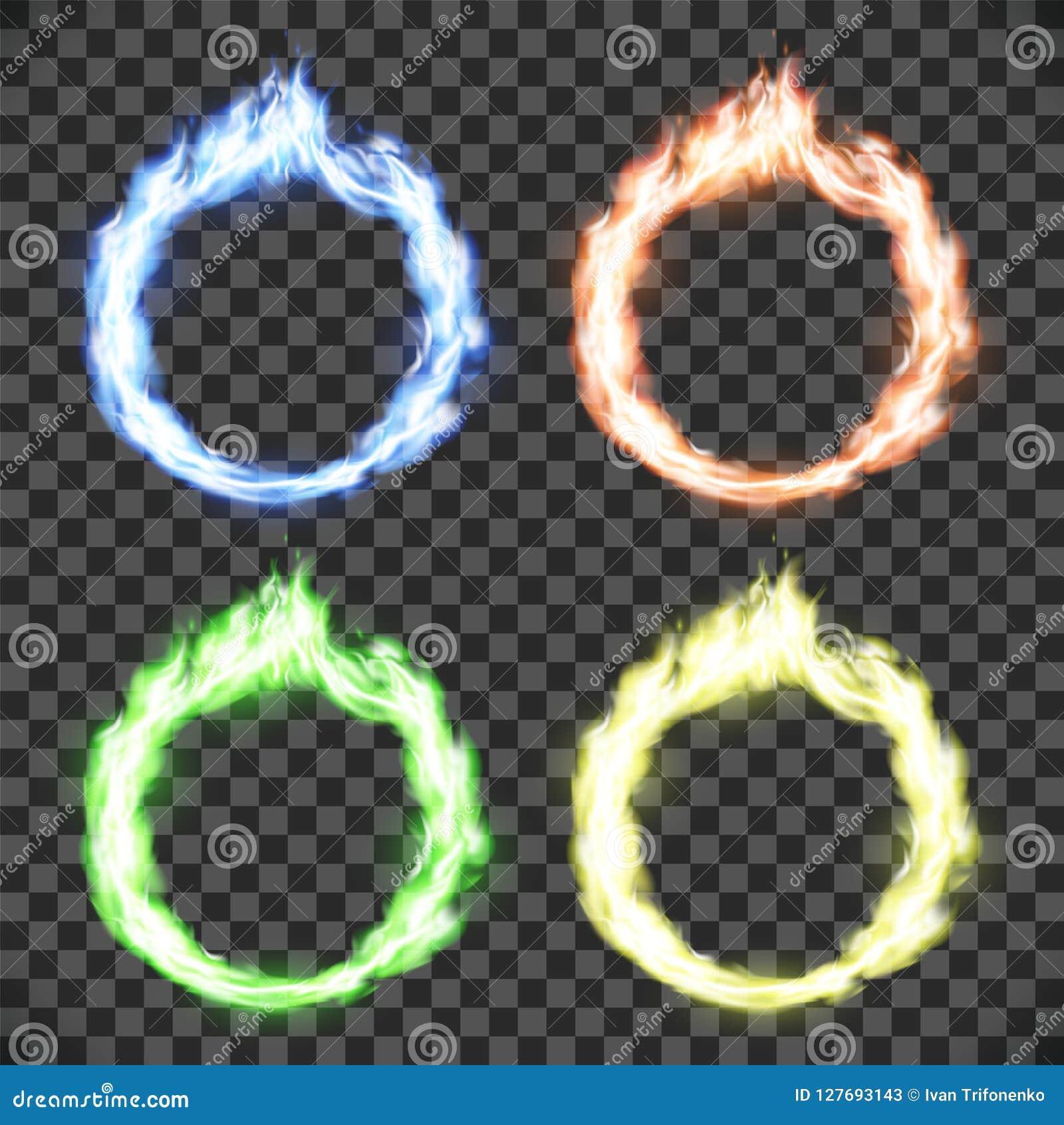 Cirkel på brand Ställ in av cirkelflammamodeller som isoleras på genomskinlig bakgrund