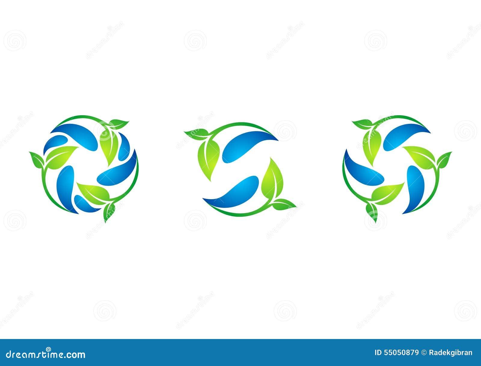 Cirkel växt, waterdrop, logo, blad, vår, återvinning, natur, uppsättning av den runda vektorn för symbolsymbolsdesign