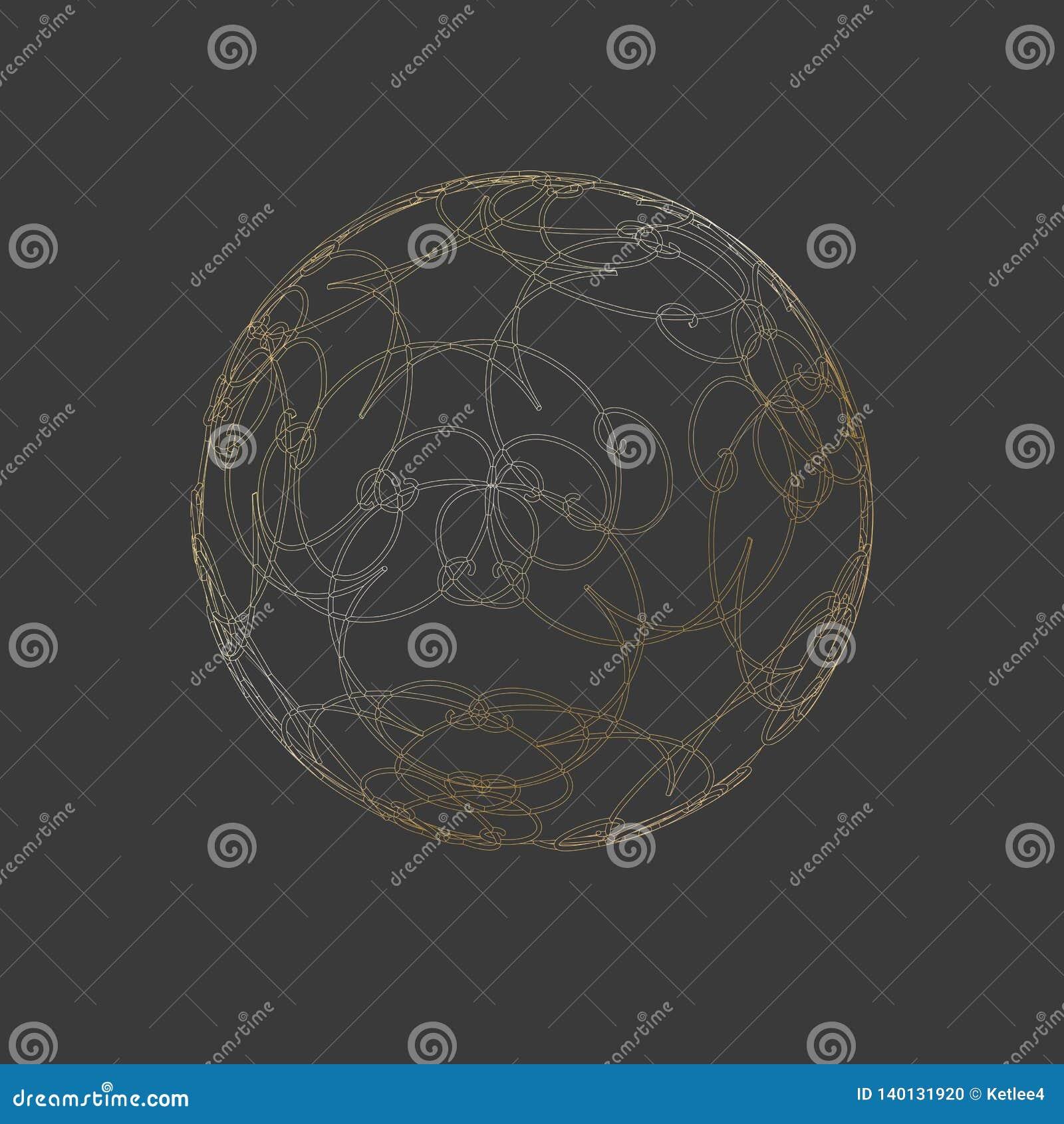 Cirkel 3 van de gebiedbal van het de rasterlijnen Overladen bloemenornament van D gouden van het het patroonontwerp van het het e
