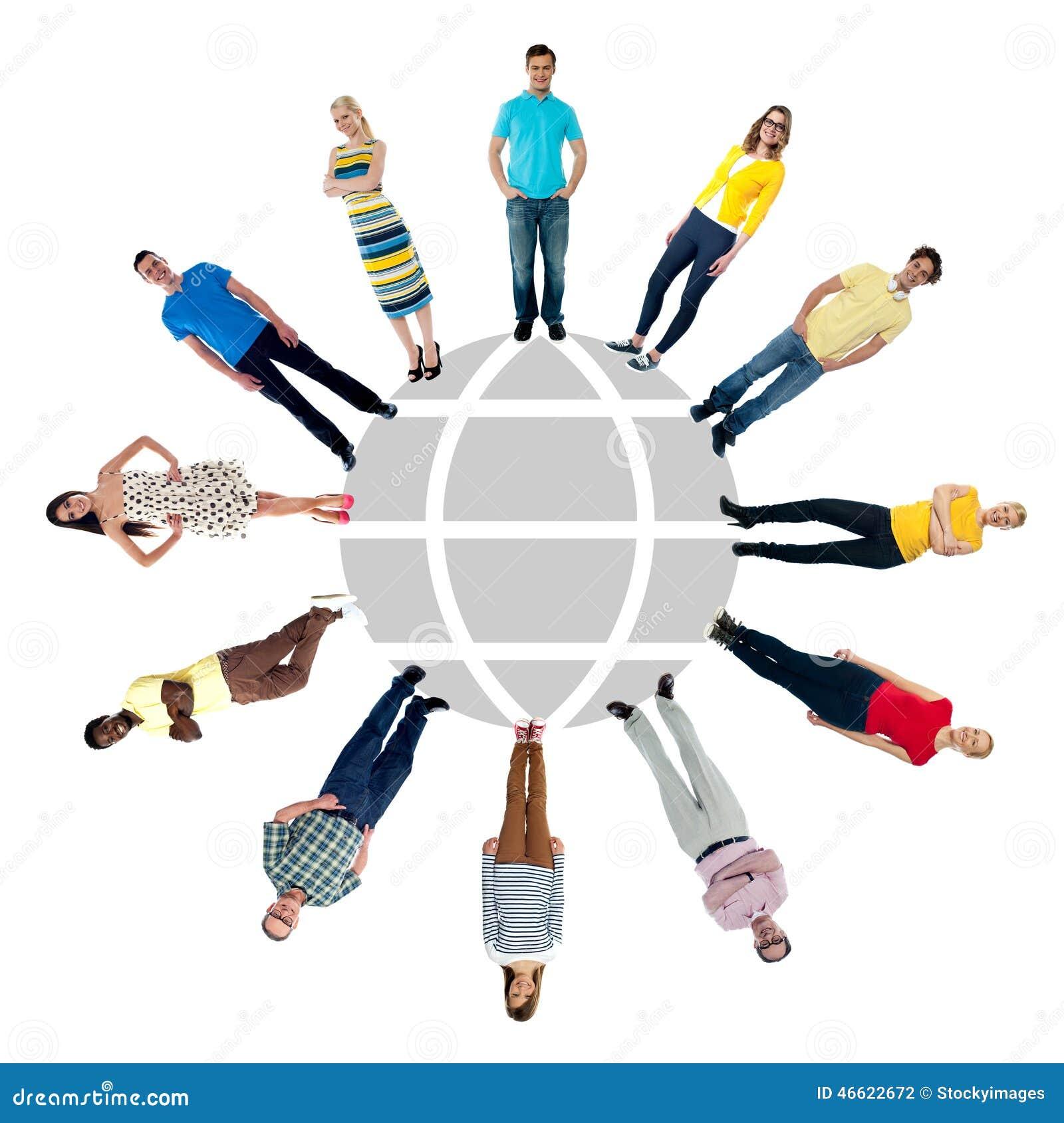 Cirkelgruppen för bakgrund 3d isolerade objektfolk som plattforer vitt