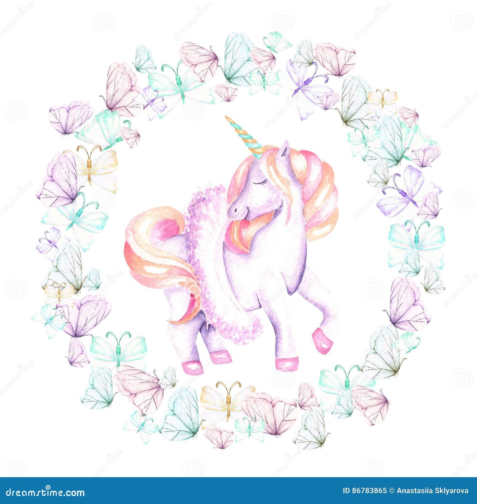 Cirkelkader, kroon met waterverf tedere vlinders en roze eenhoorn