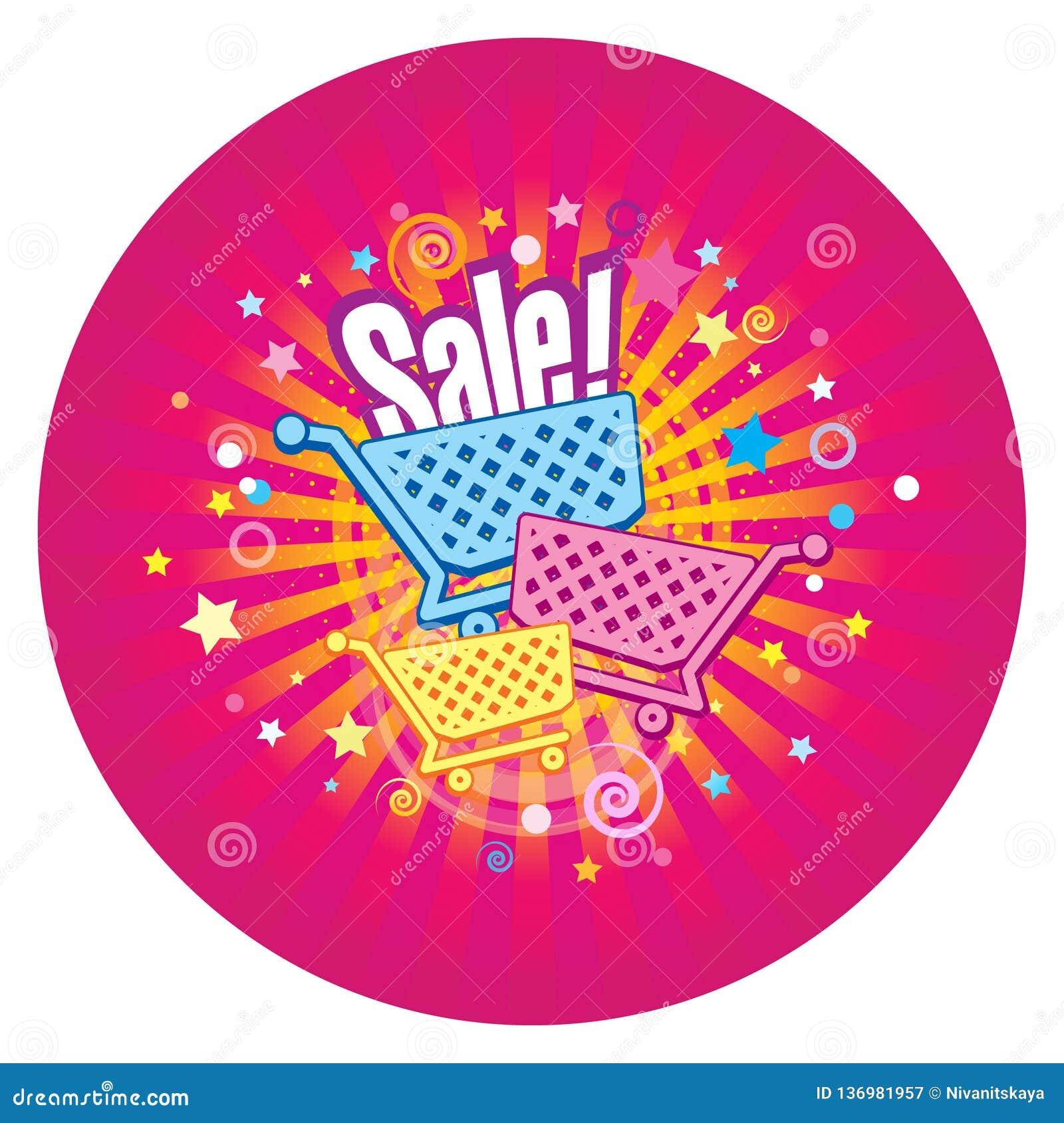 Cirkelklistermärke av Sale Supermarketspårvagnar på den dekorativa bakgrunden med strålar, stjärnor och konfettier