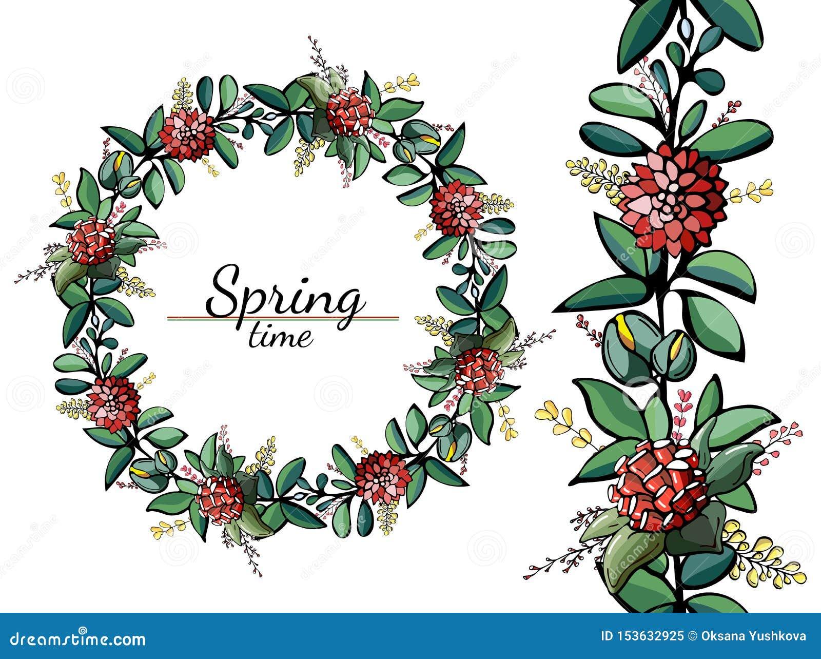 Cirkels en naadloos patroon van heldere de lentebloemen en bladeren