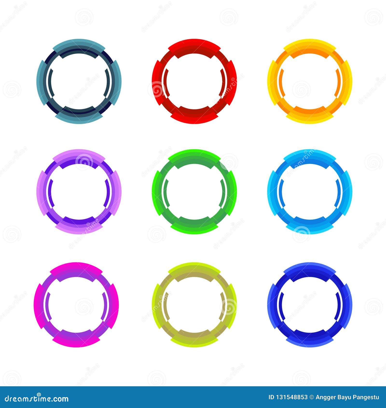 Cirkeluppsättning också vektor för coreldrawillustration abstrakt stilar för medel för symbol för affärscirkel företags Företags