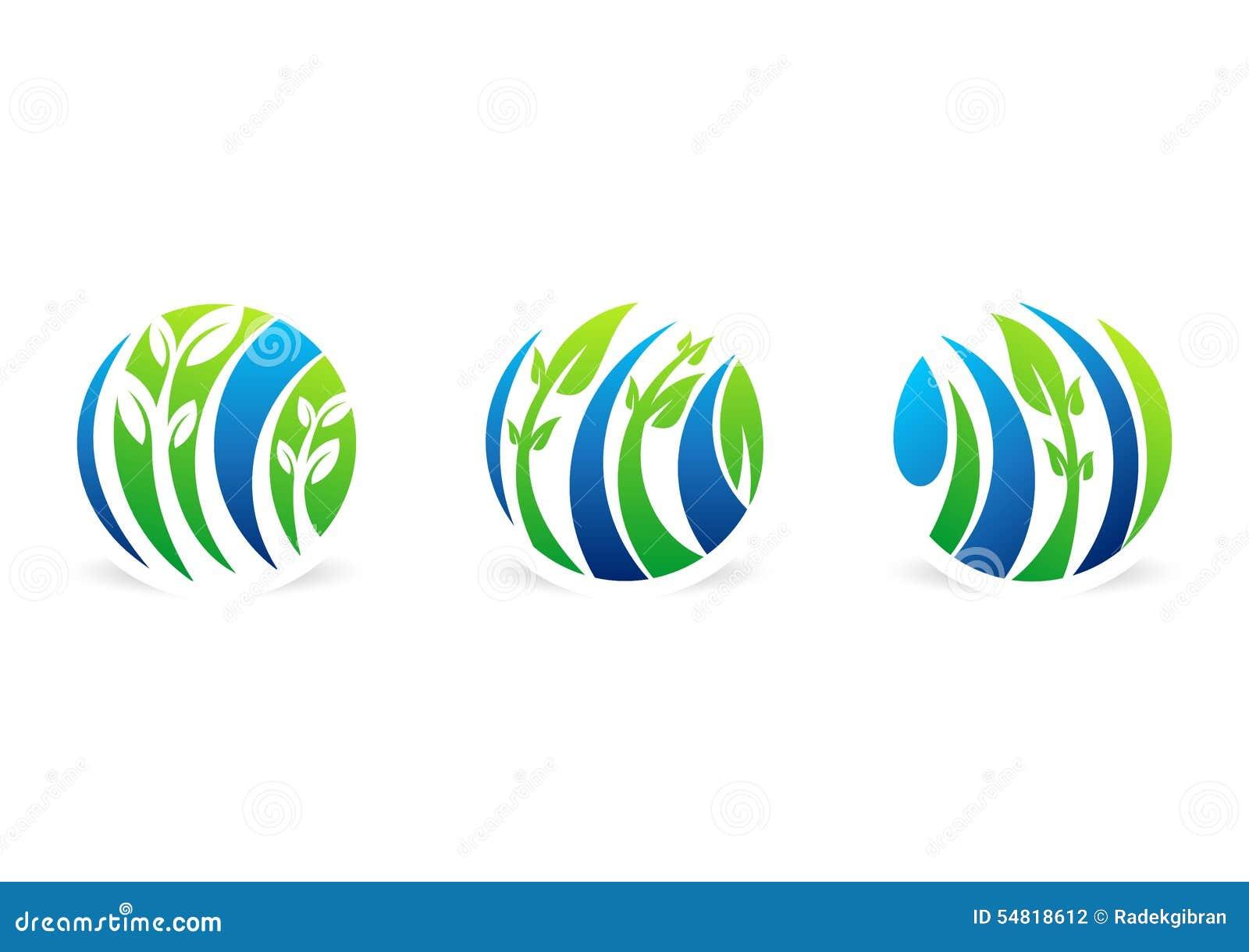 Cirkla växtlogoen, naturlig vattendroppe, vatten, bladet, global vektor för design för symbol för fastställt symbol för ekologina