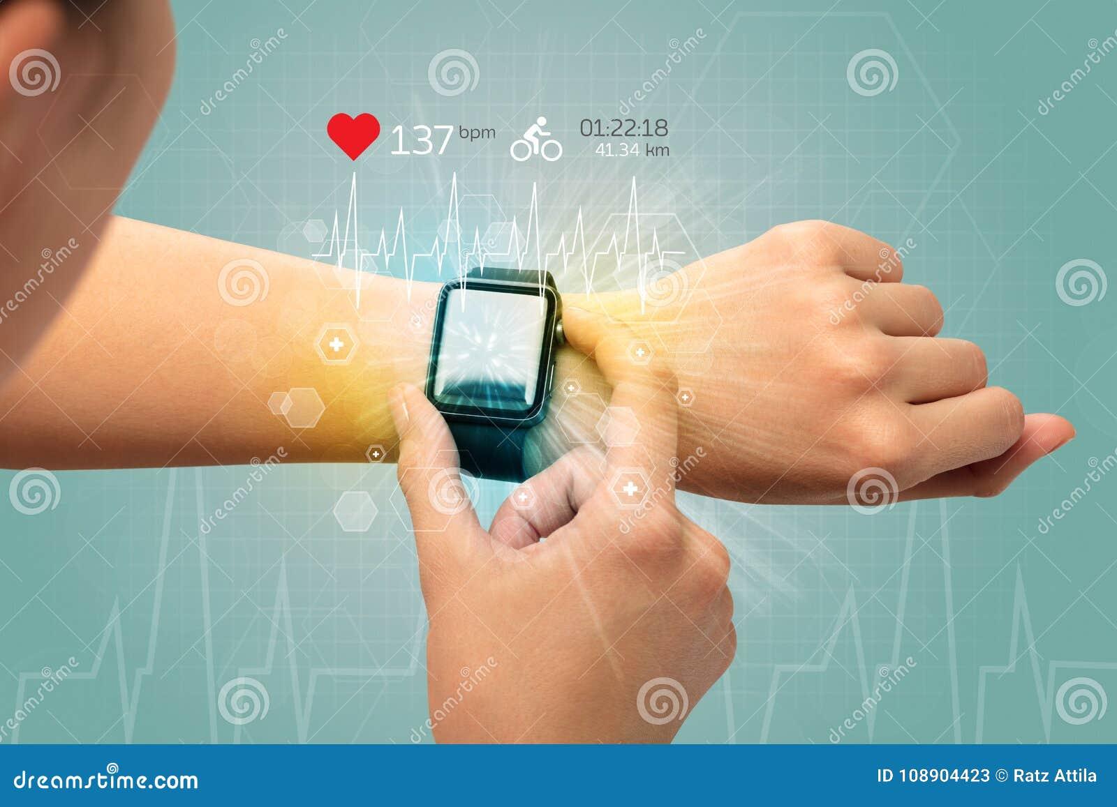 Cirkulering och smartwatchbegrepp