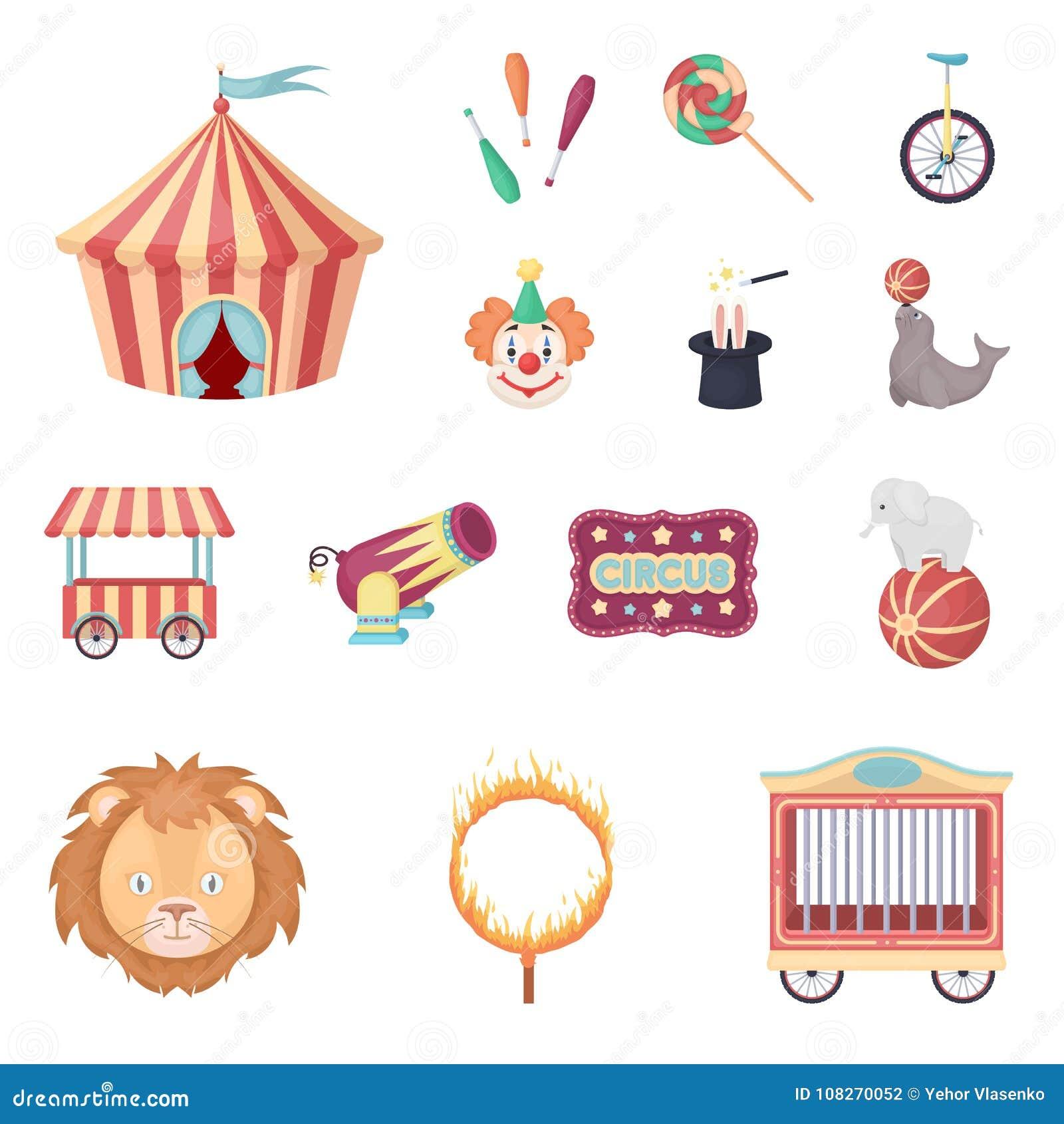 Cirkus och attributtecknad filmsymboler i uppsättningsamlingen för design Illustration för rengöringsduk för materiel för symbol