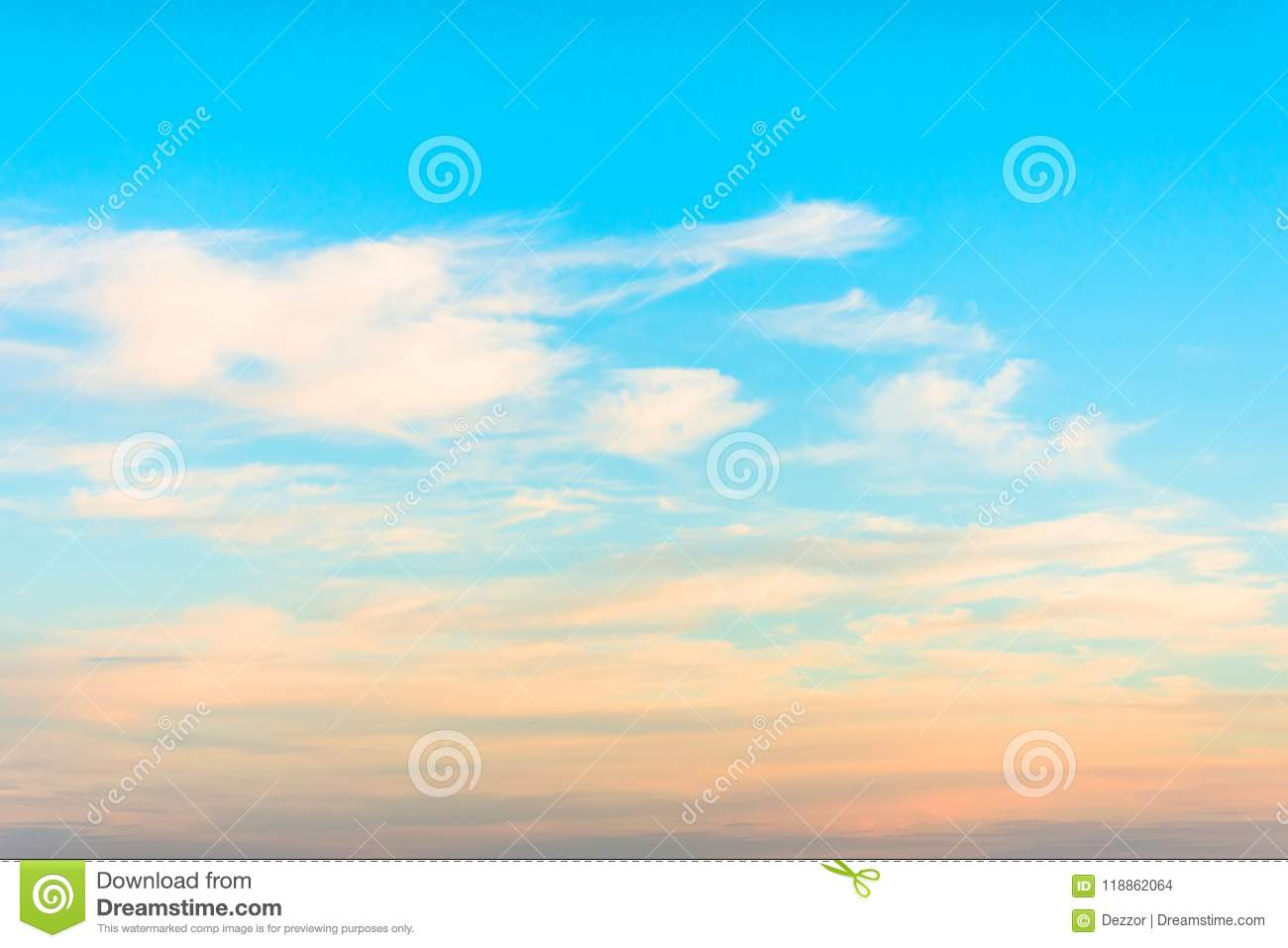 Cirrus Clouds At Sunset With Gradient Sky Stock Photo Image Of