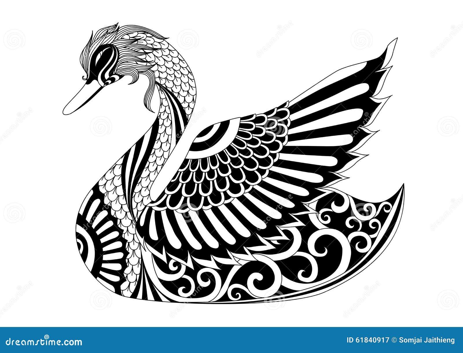 Cisne Del Zentangle Del Dibujo Para La Pagina El Efecto Del Diseno