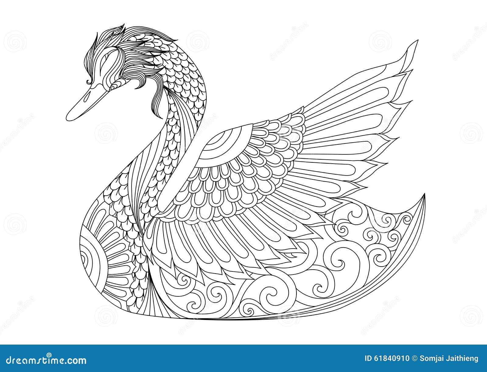 Cisne do zentangle do desenho para a página colorindo, o efeito do projeto da camisa, o logotipo, a tatuagem e a decoração