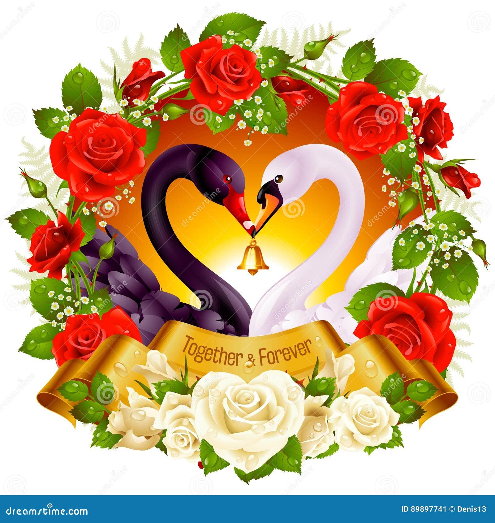 download cisnes rosas y corazones ilustracin del vector ilustracin de tarjeta 89897741