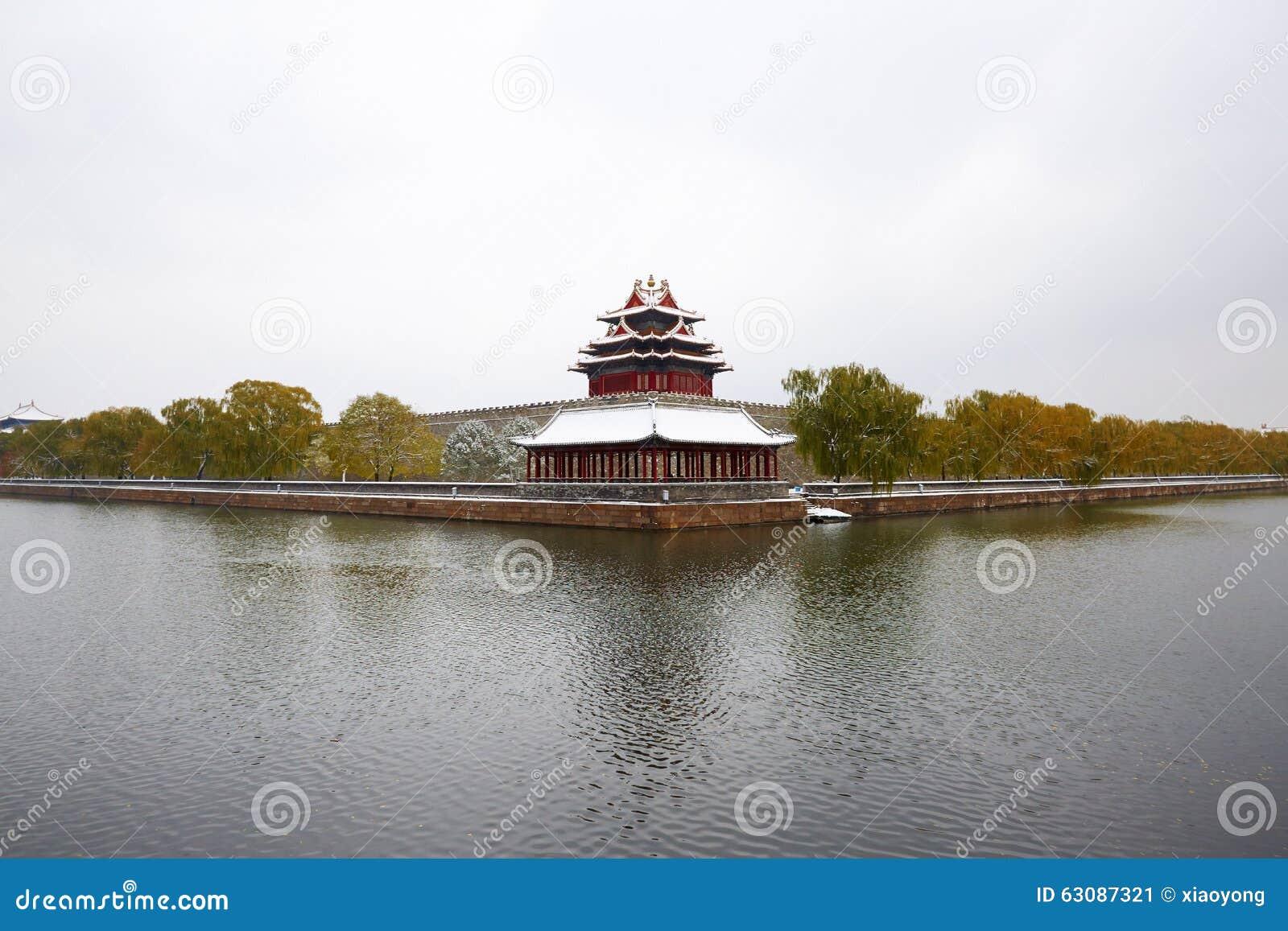 Download Cité Interdite Dans La Neige, Pékin Image stock - Image du traditionnel, constructions: 63087321