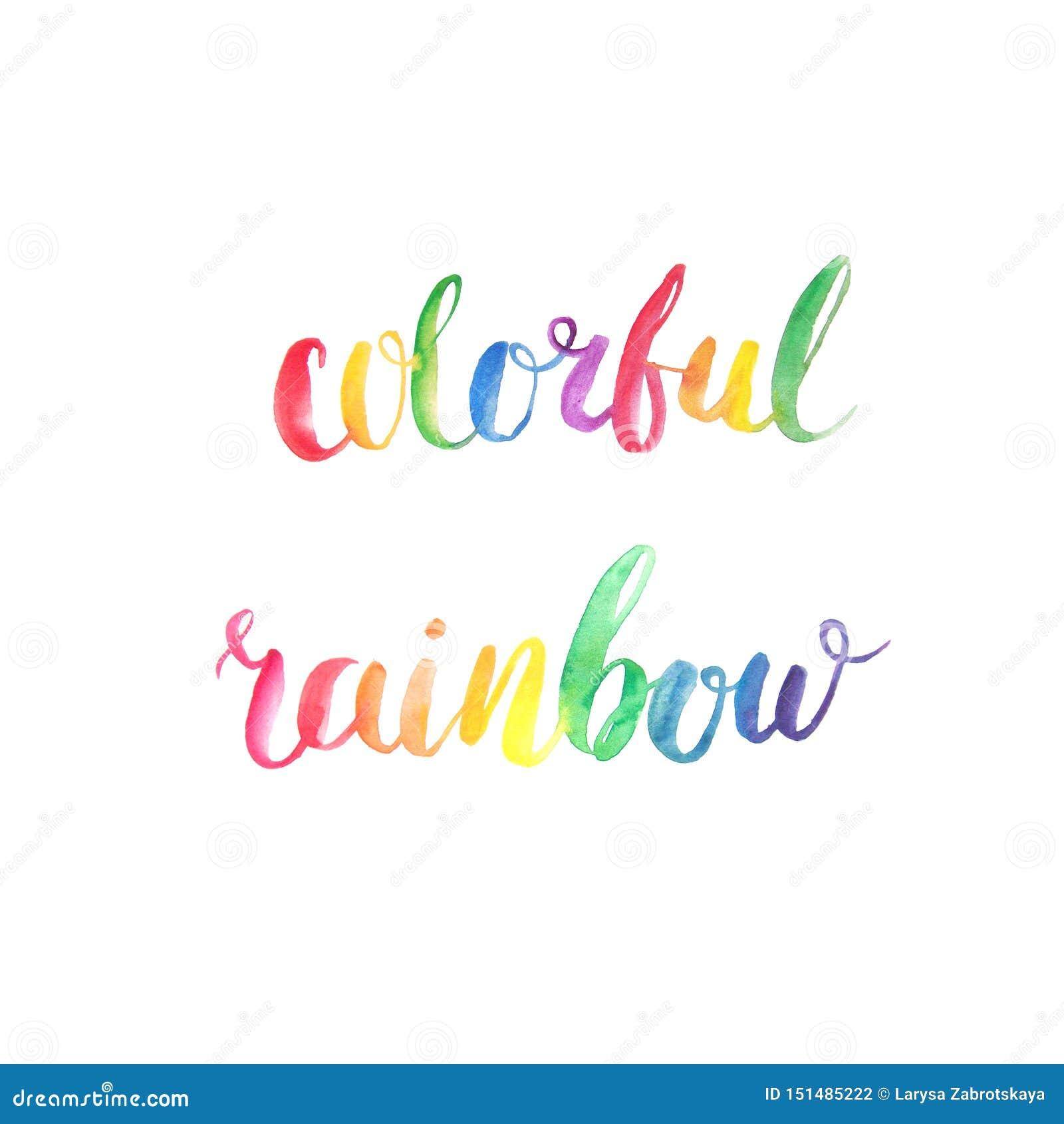 Citações coloridas da rotulação da aquarela do arco-íris
