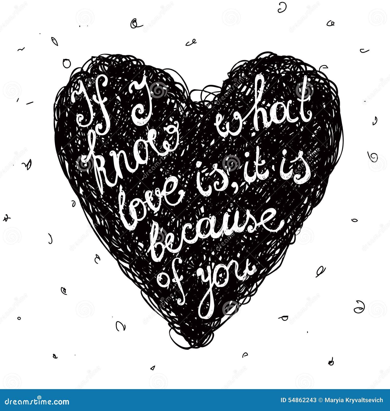 Citações Preto E Branco Do Amor Do Vetor Frase No Ilustração Do