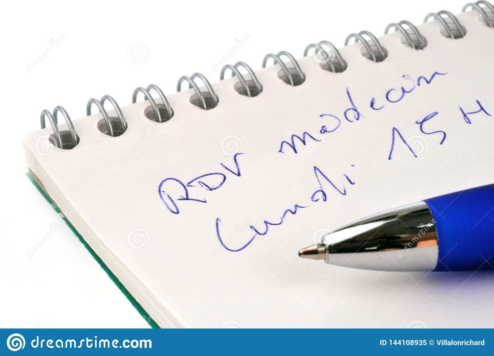 Cita en el doctor escrito en francés