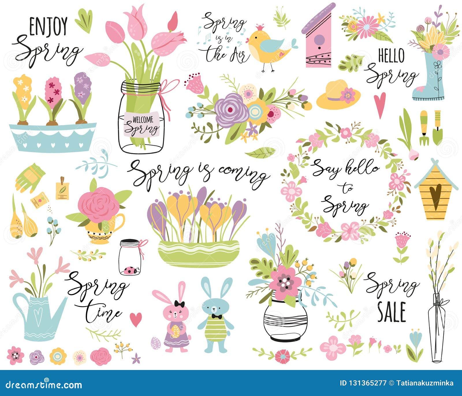 Cita linda de la primavera de la tipografía del ejemplo del vector de Pascua de los elementos de la mano del sistema de la primav