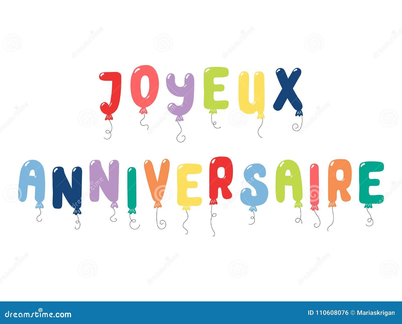 Citation De Francais De Joyeux Anniversaire Illustration De Vecteur