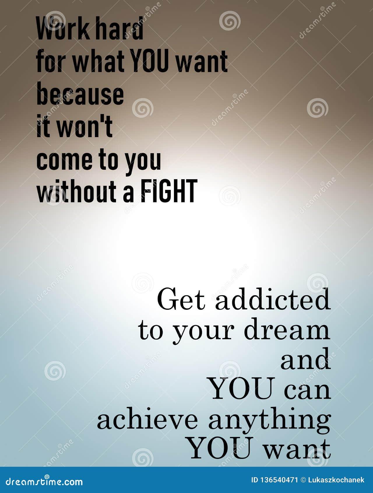 Citation de motivation inspirée, sagesse de la vie - le travailler dur, foyer sur le succès, suivent votre rêve