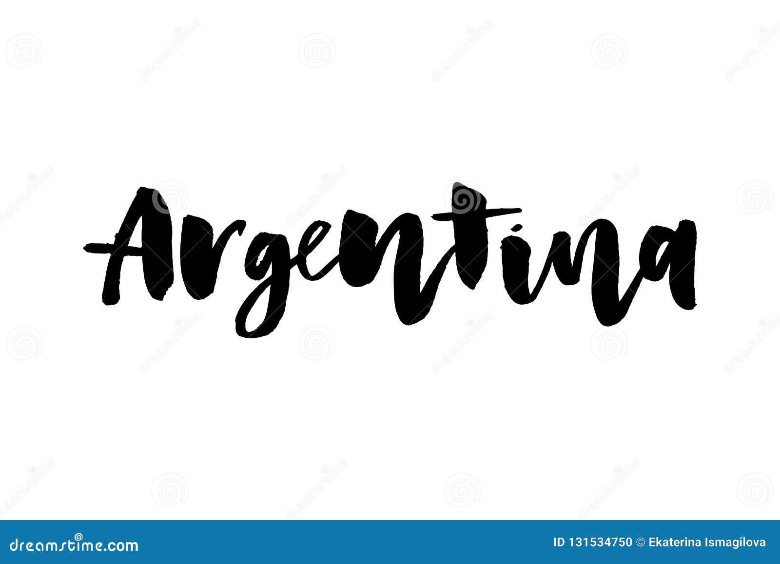 Citation espagnole calligraphique Viva Argentina de lettrage écrite par main avec les confettis en baisse dans des couleurs de dr