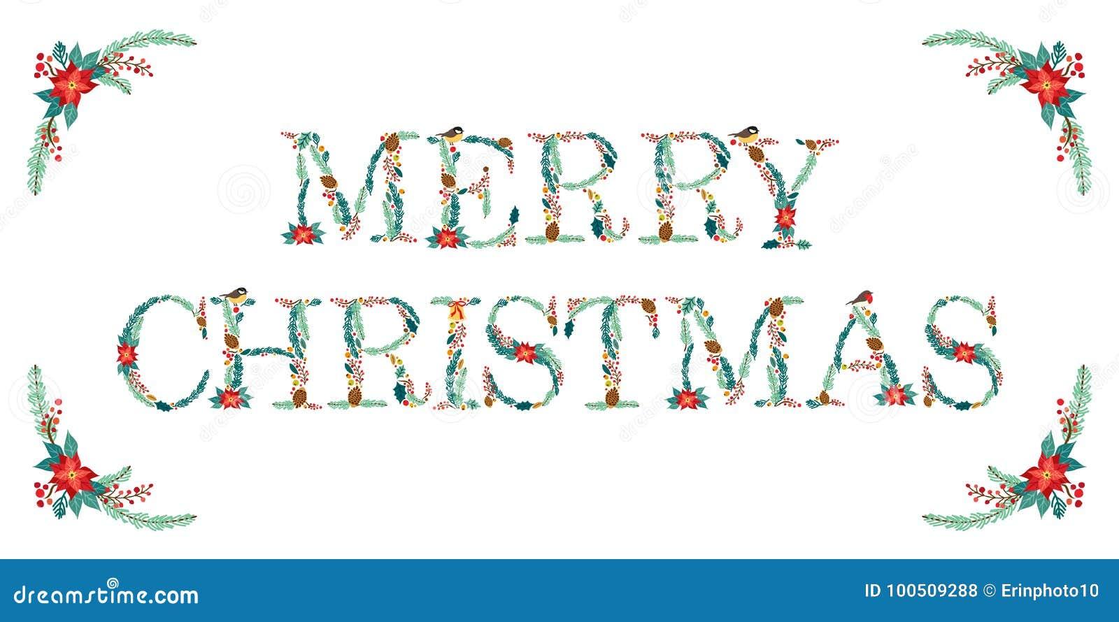 Citation florale rustique tirée par la main de Noël de vintage mignon