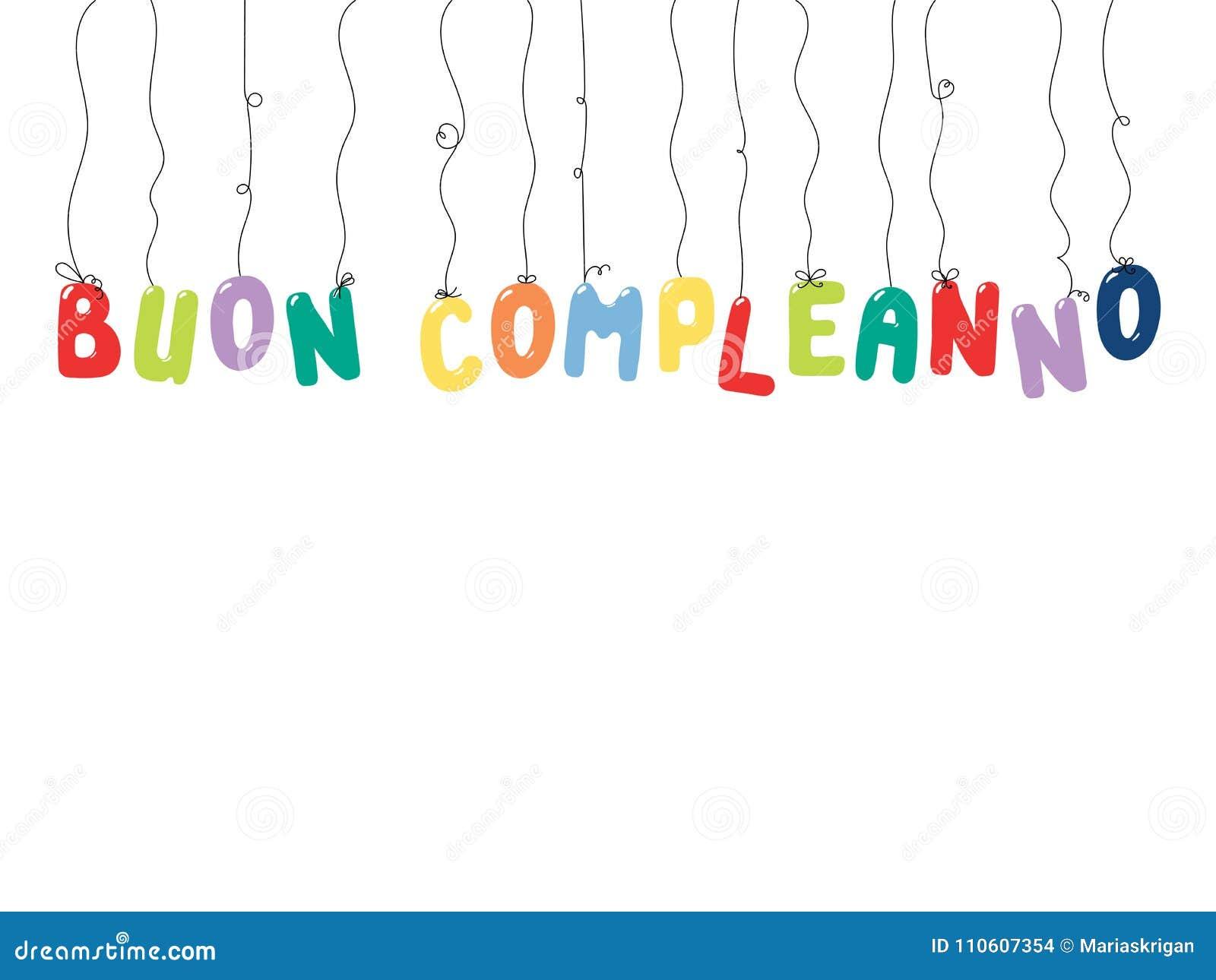 Citation Italienne De Joyeux Anniversaire Illustration De Vecteur