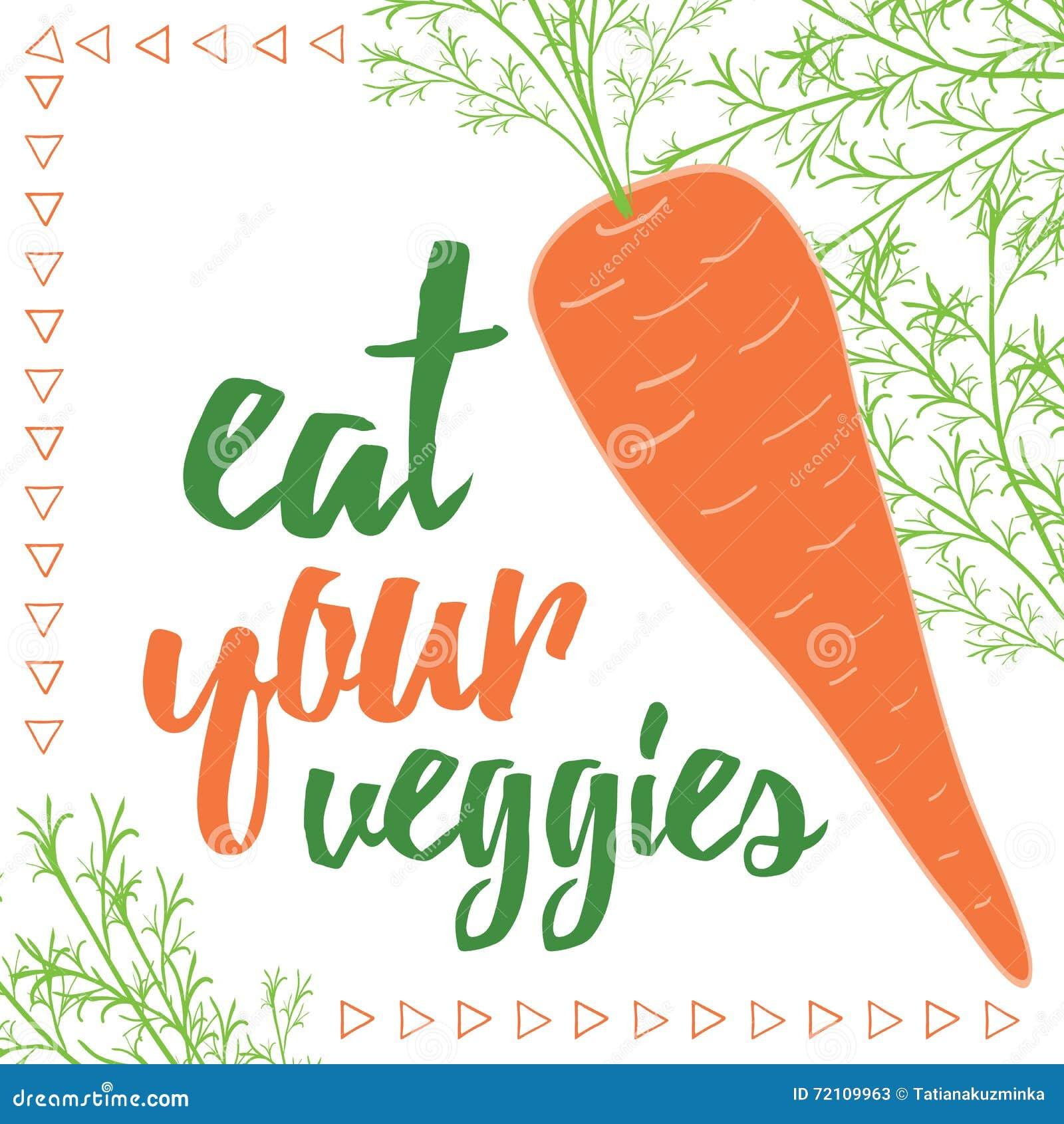 Citations de nourriture Mangez de vos veggies Carte organique de carotte