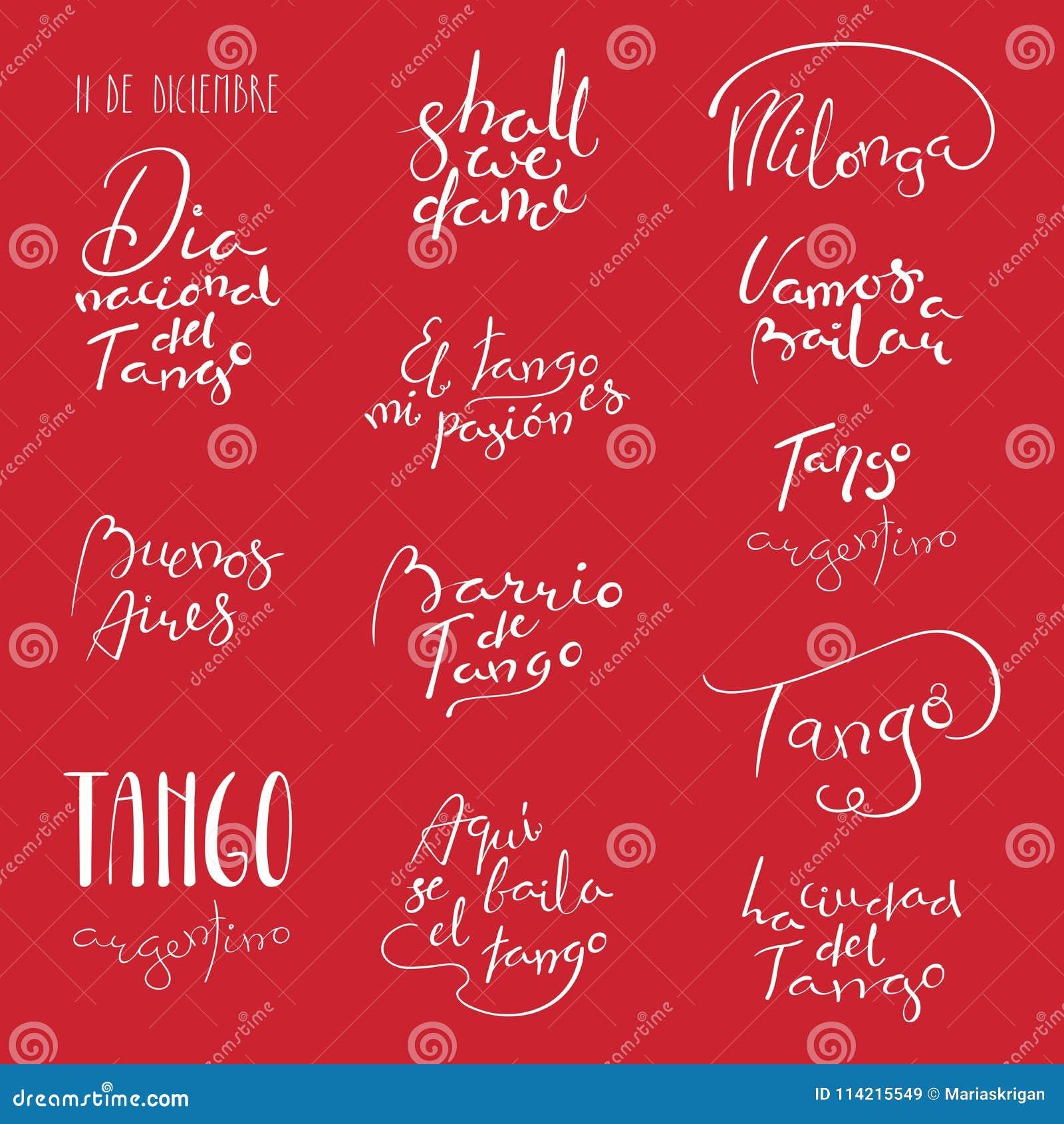 Citations de tango écrites par main réglées