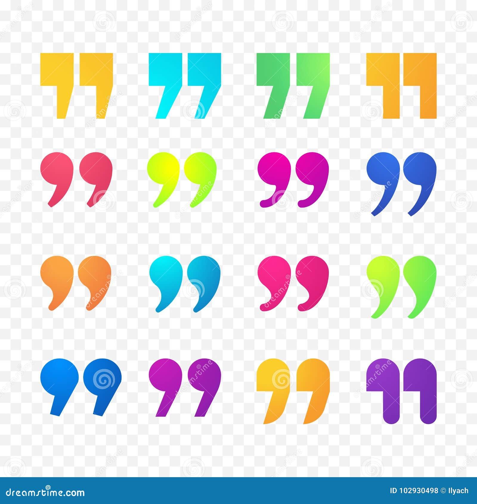 Citations ou icônes d isolement par appartement de gradient de couleur de vecteur de signe de virgule de citation réglées