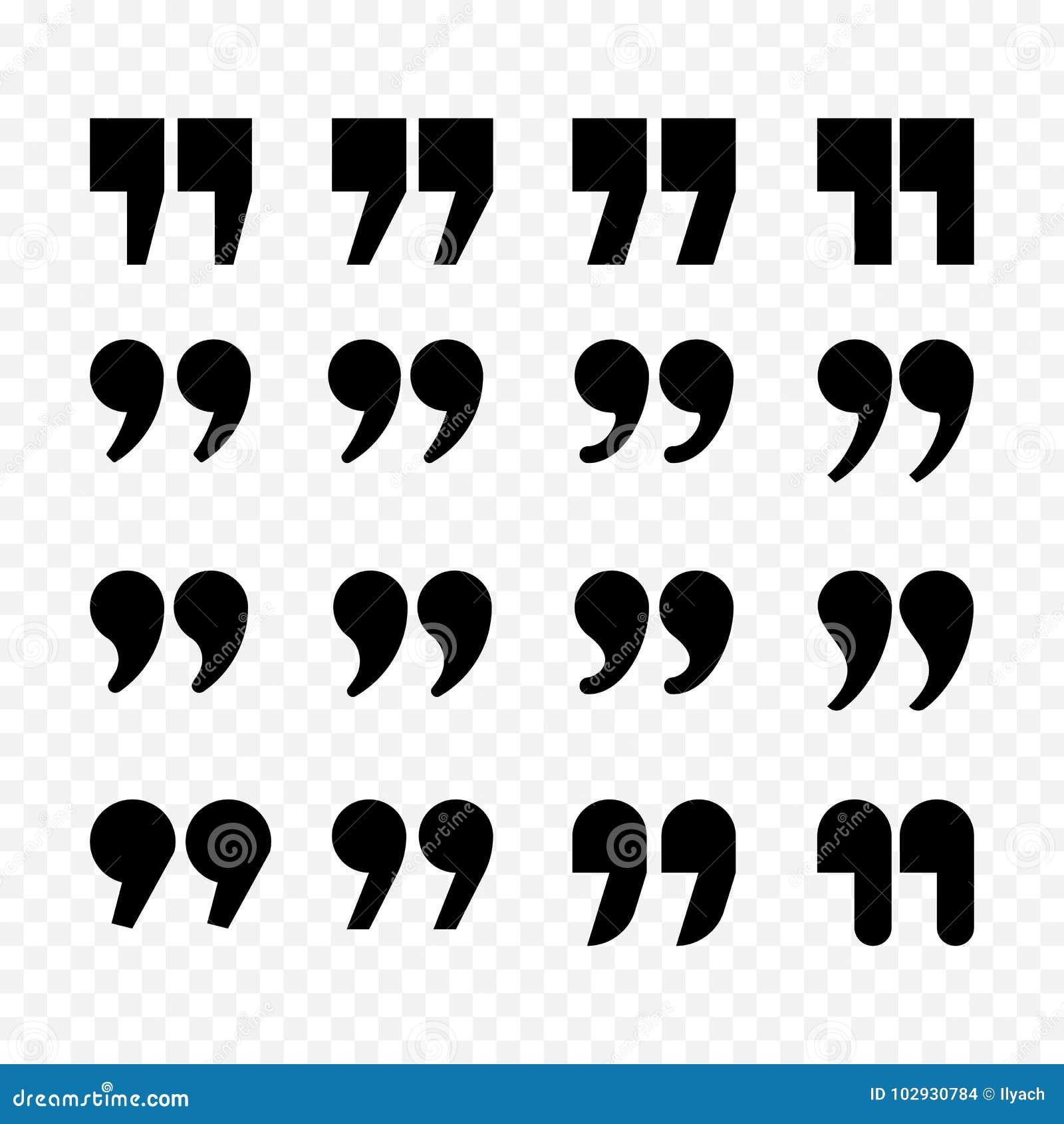 Citations ou icônes d isolement par appartement de noir de vecteur de signe de virgule de citation réglées