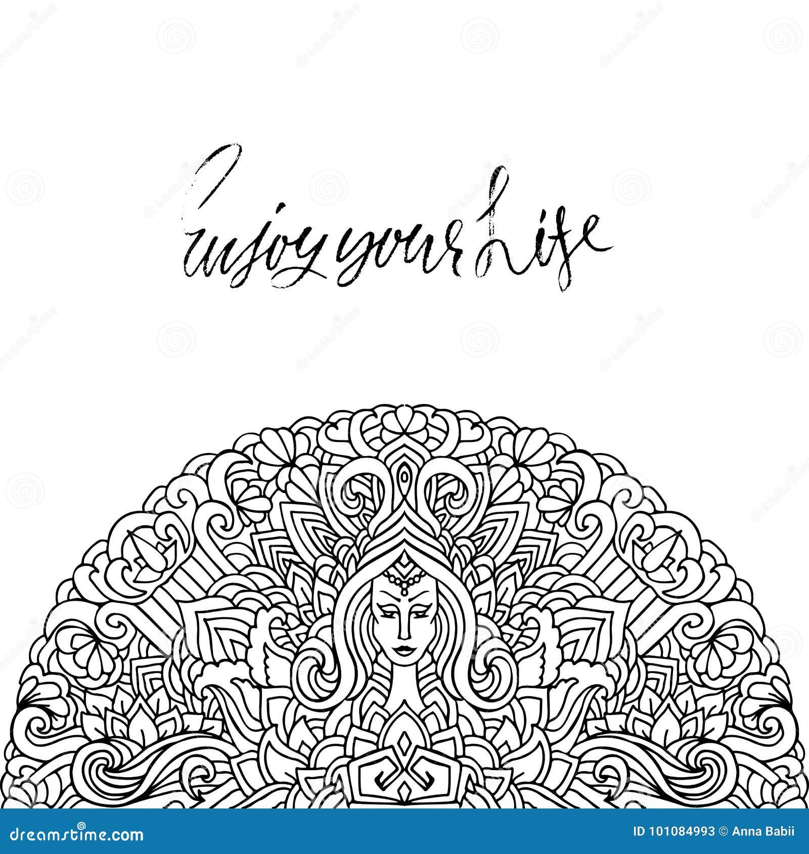 Citazione ispiratrice indicata da lettere della mano Goda della vostra vita Iscrizione dell inchiostro spazzolata mano Calligrafi