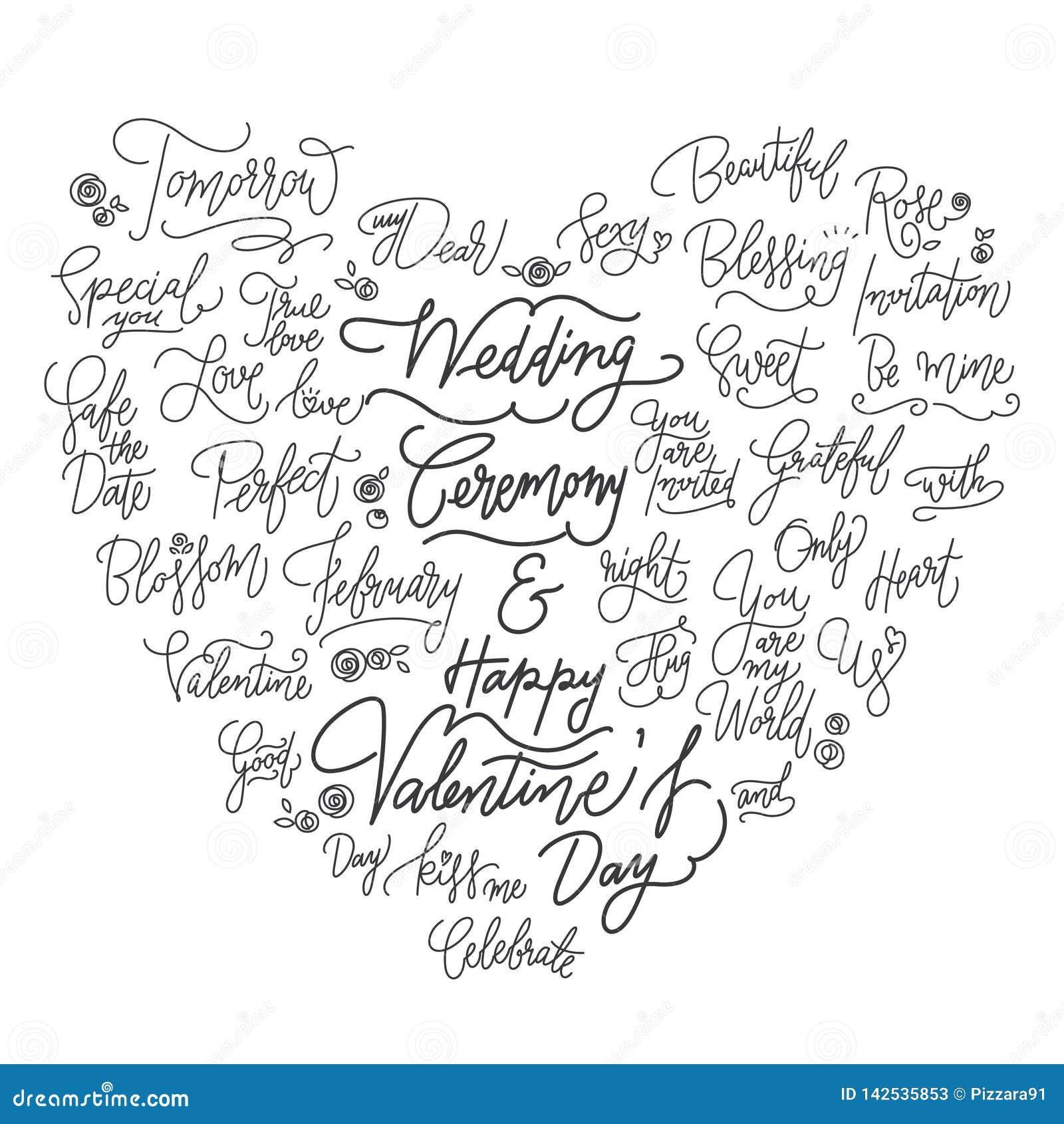 Citazioni calligrafiche di nozze buone nella forma del cuore
