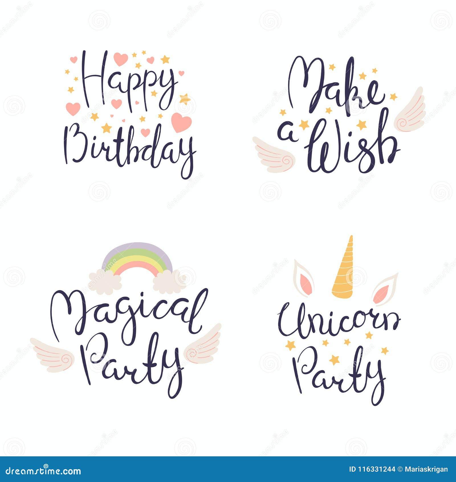 Citazioni Di Compleanno Fissate Illustrazione Vettoriale