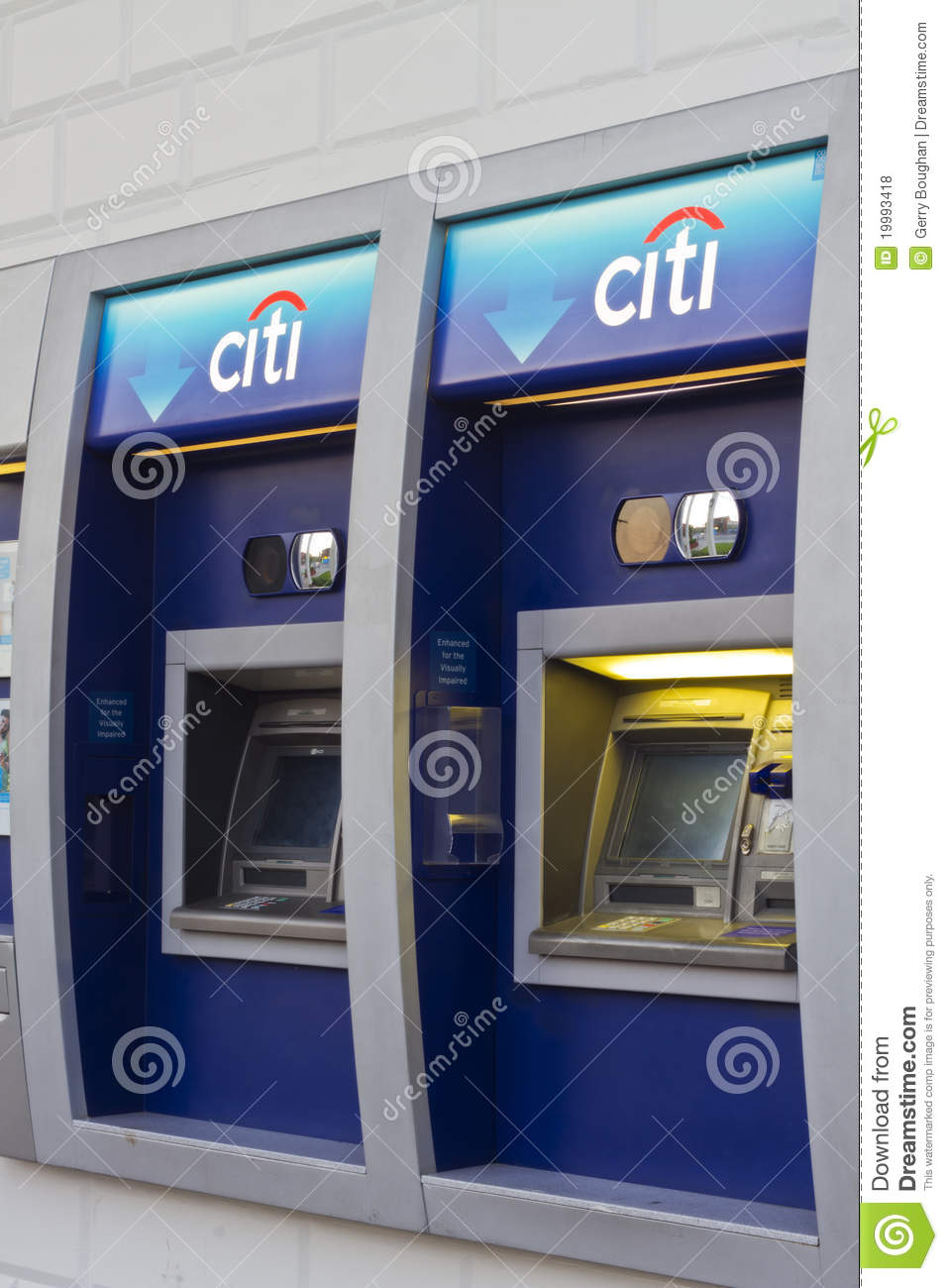 citibank atm with logo at branch bank