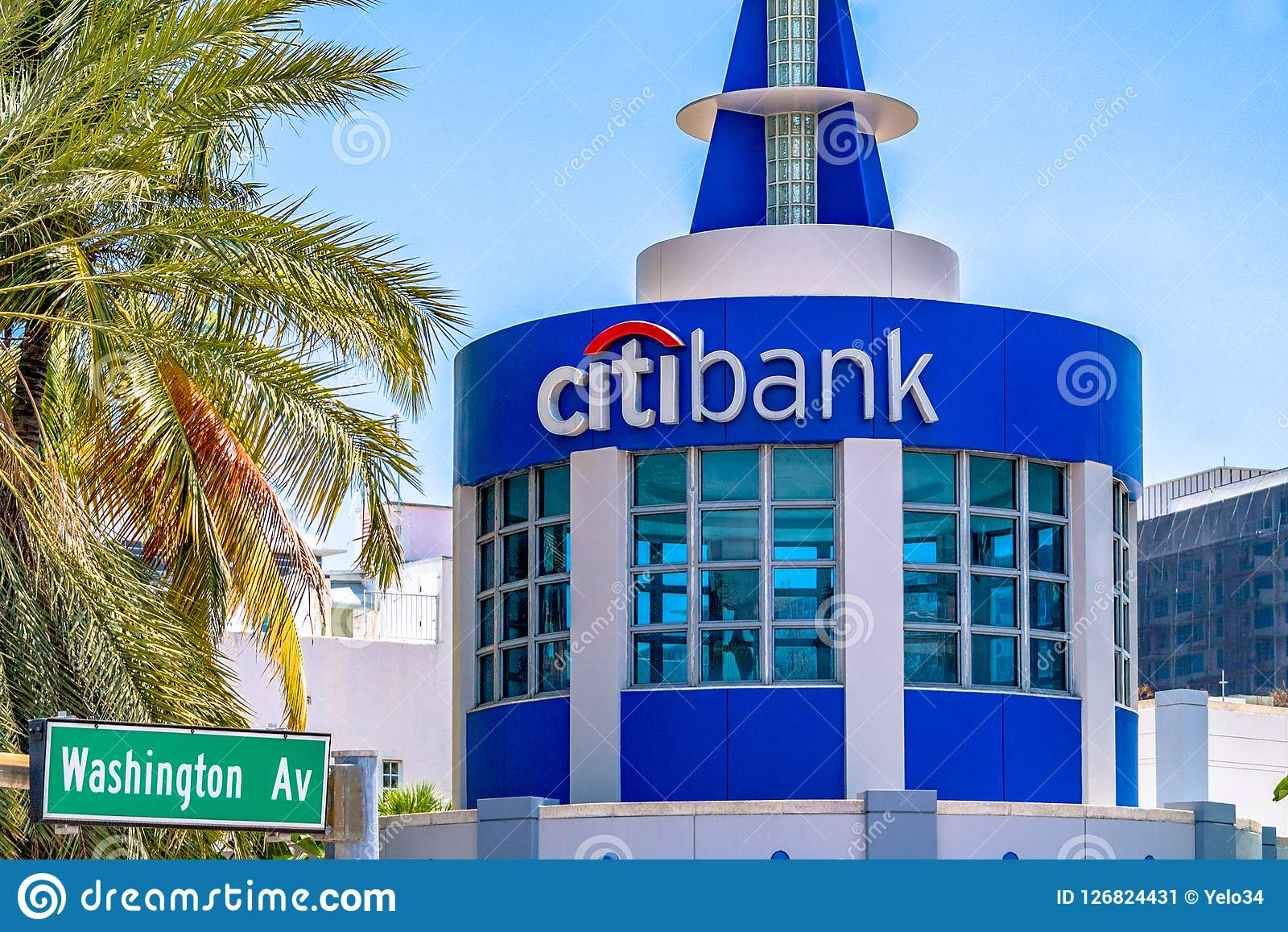 Citibank Sign Logo In Round Small Tower Architecture Detail