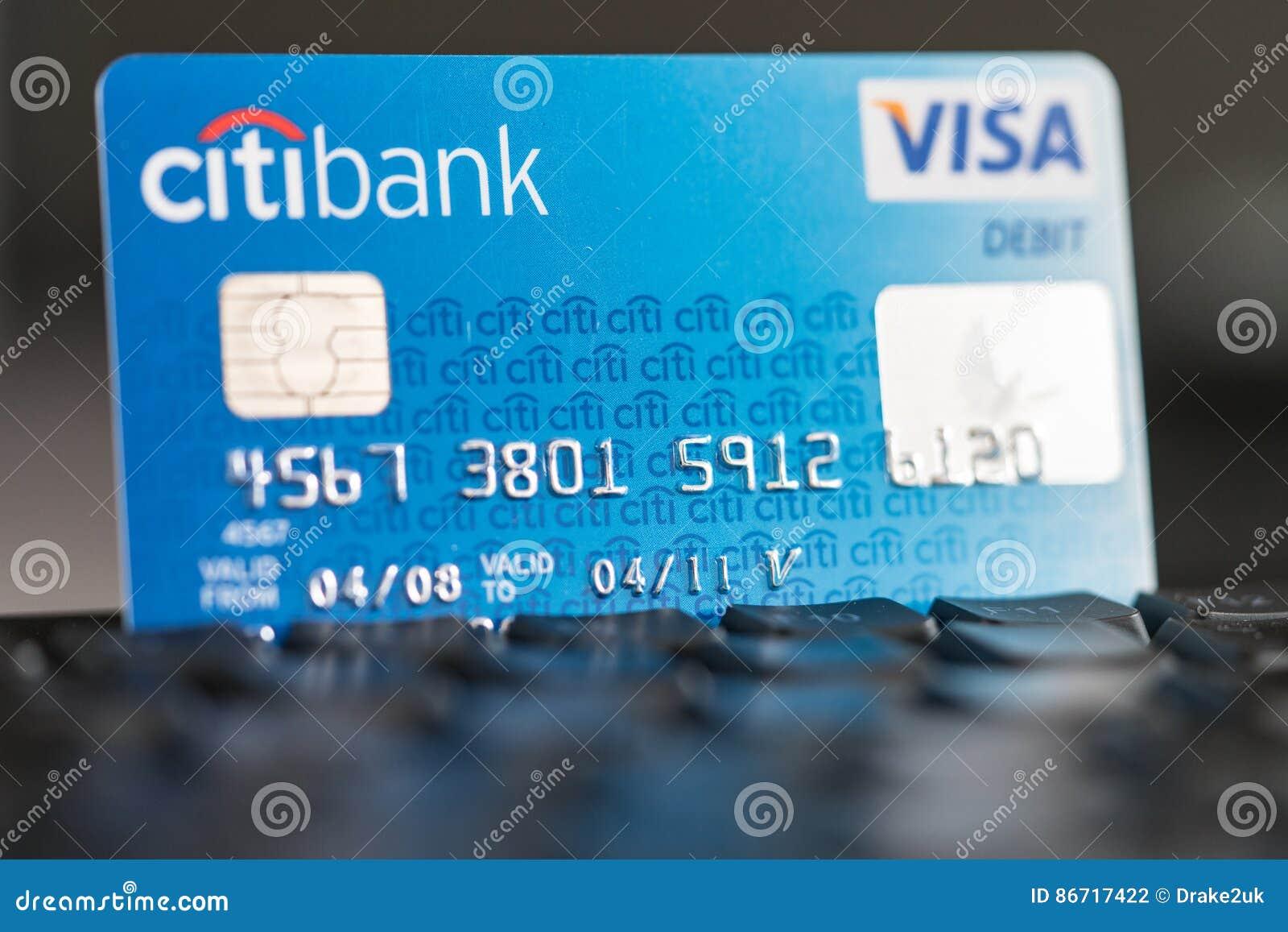 Citibank Visa Debit Card On A Keyboard Editorial Photography