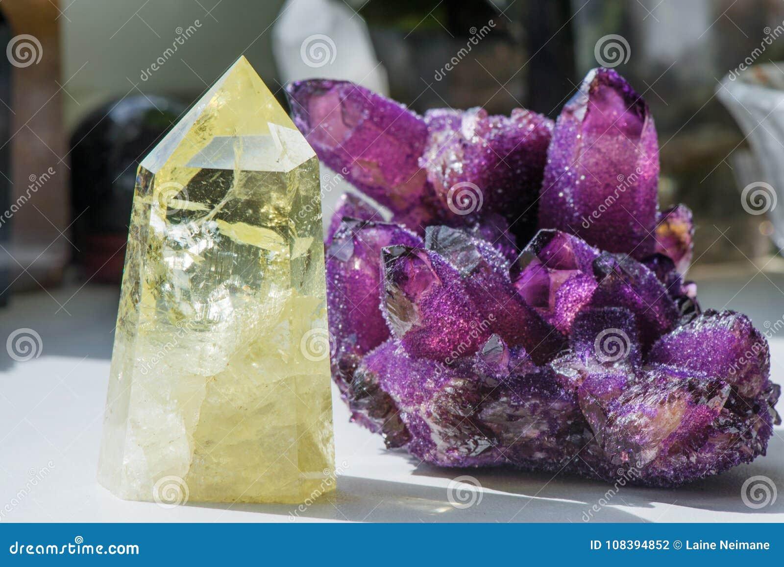 Citrine stone and amethyst.